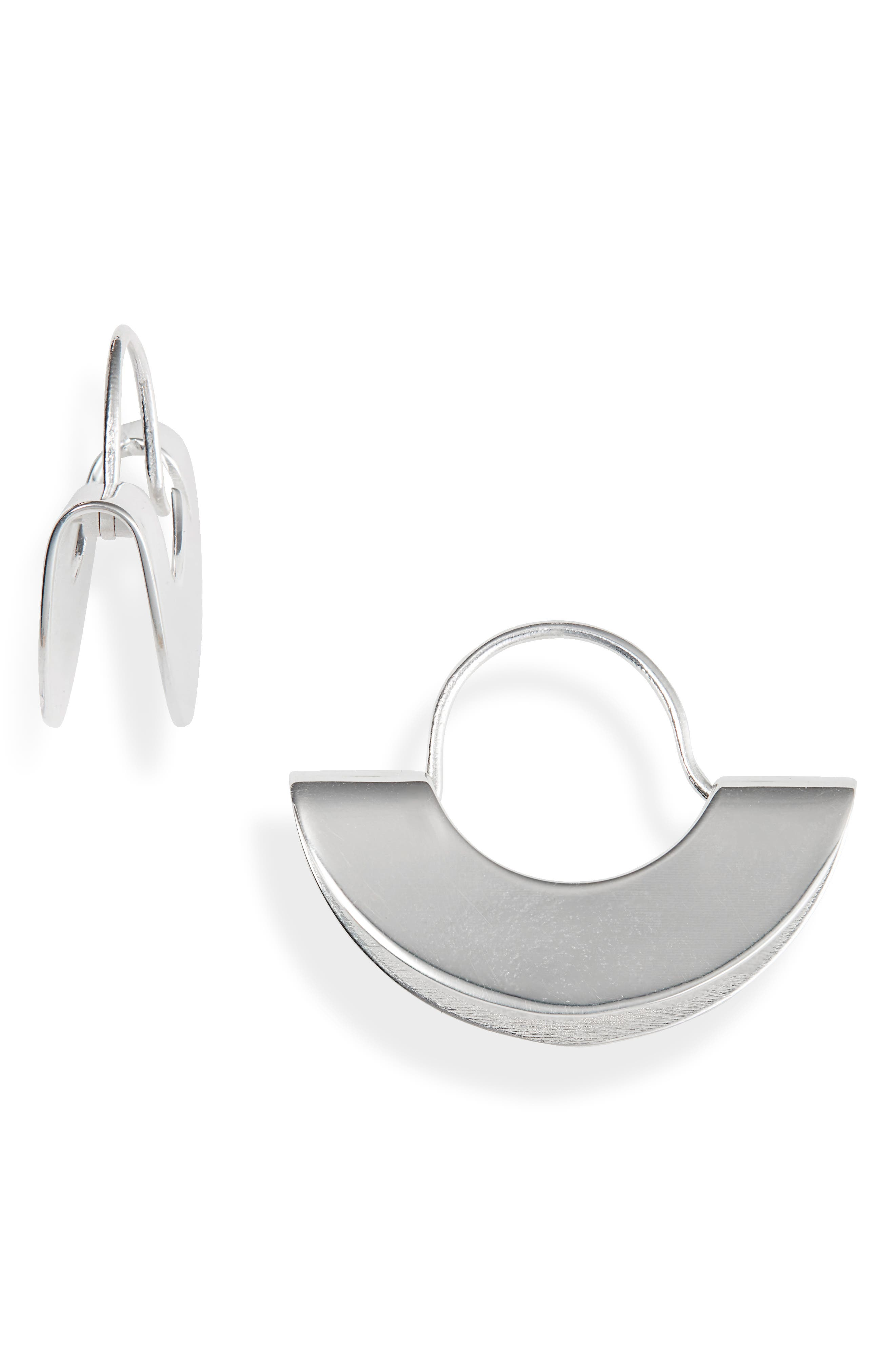 ALL BLUES Double Date Polished Silver Earrings
