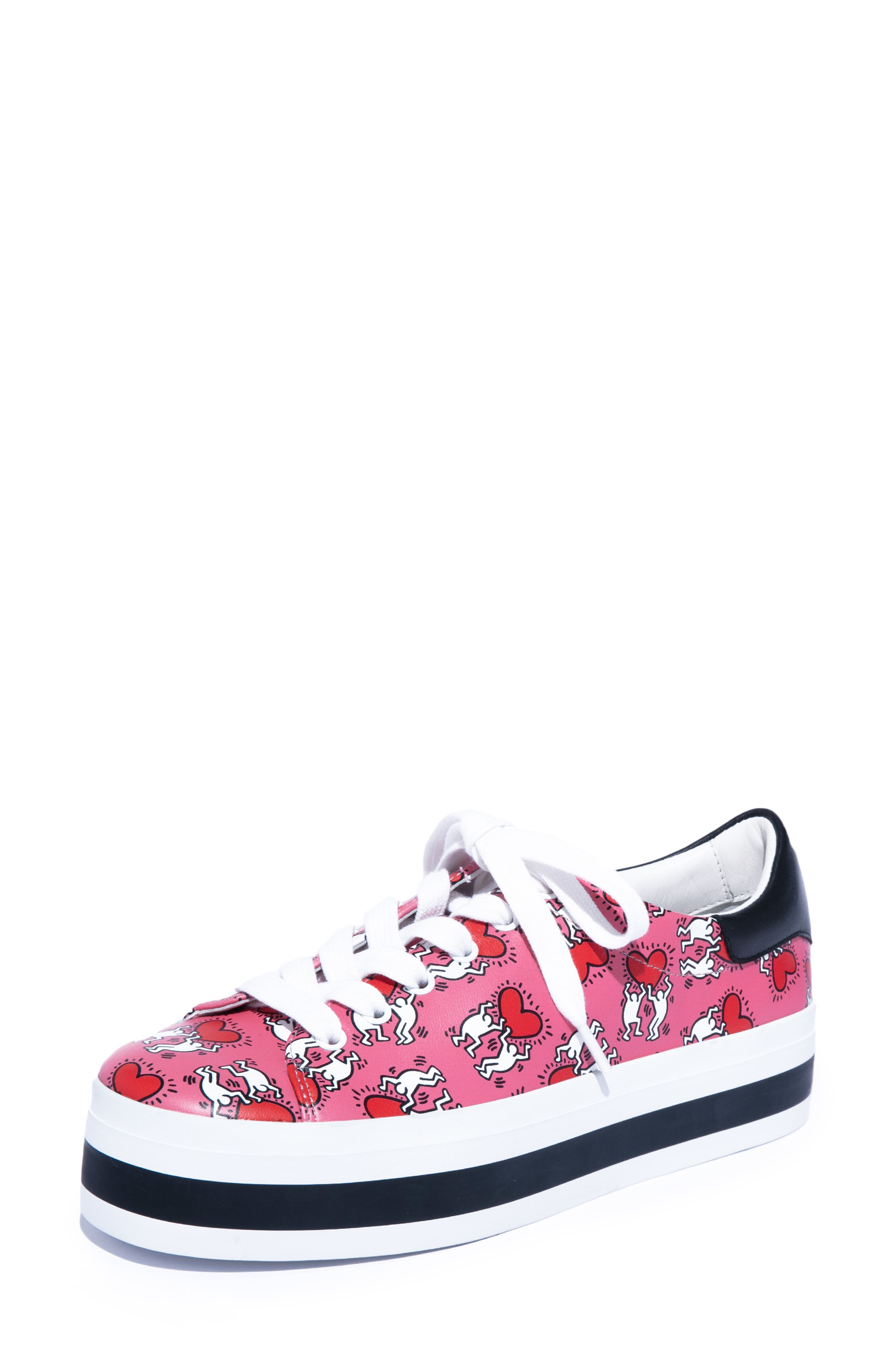 Keith Haring X Alice + Olivia Ezra Love Print Leather Platform Sneakers in Pink/ Red Hearts