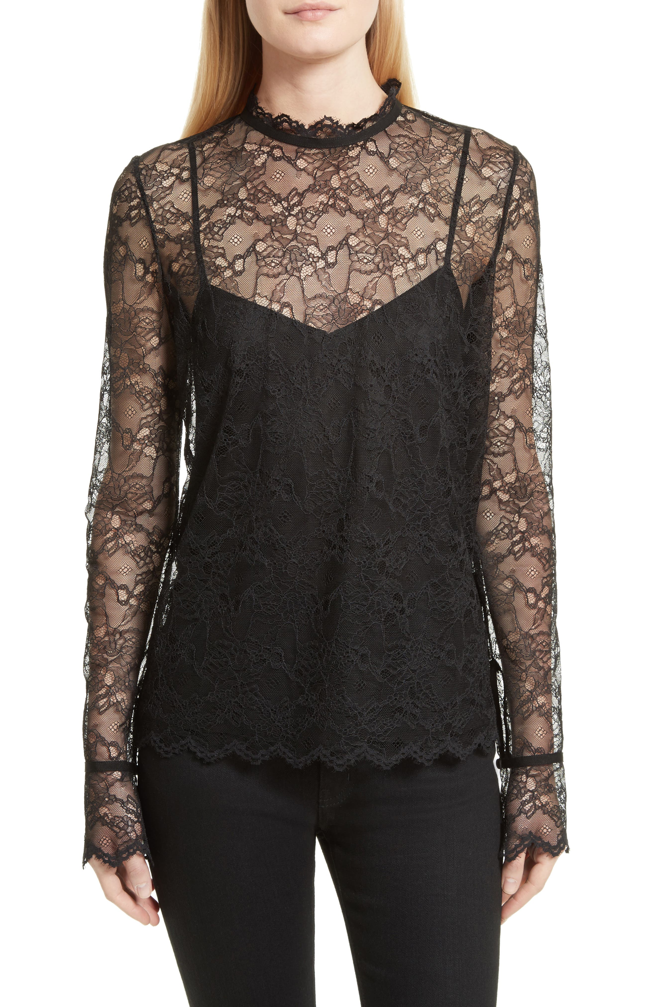 Lace Top with Tank,                         Main,                         color, 001