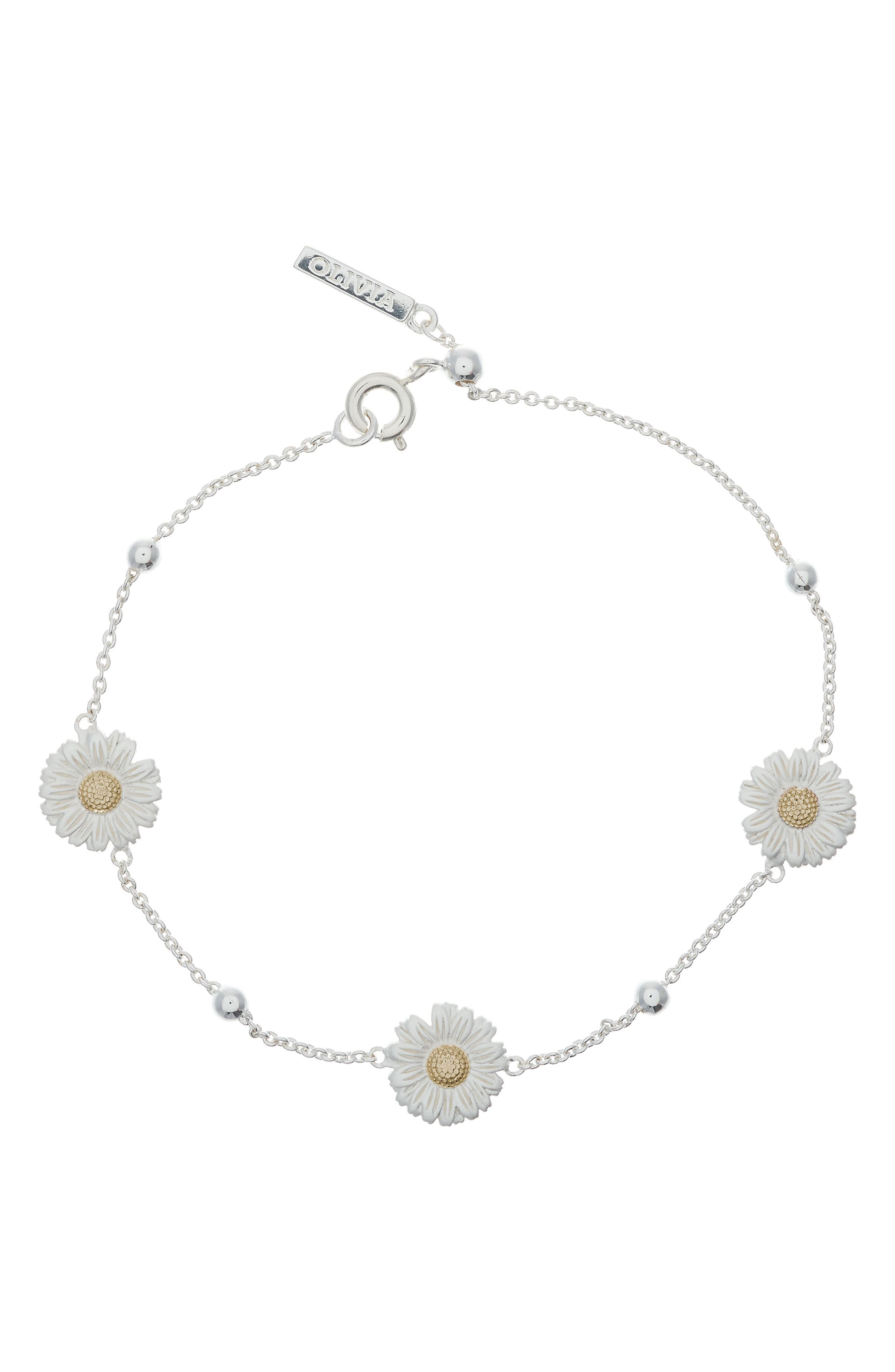 3D Daisy Ball Chain Bracelet,                             Main thumbnail 1, color,                             SILVER/ GOLD