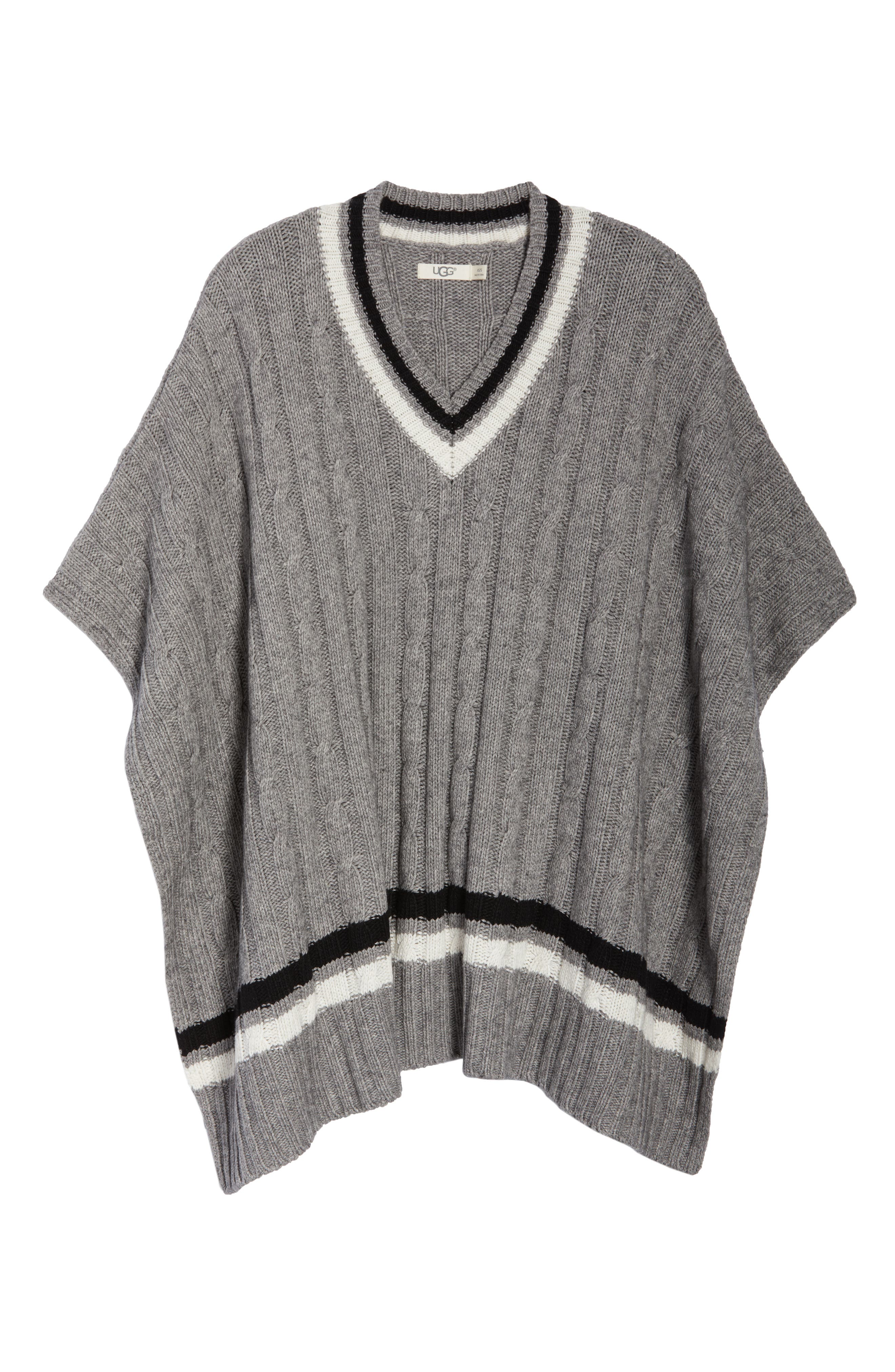 Weslynn Poncho Sweater,                             Alternate thumbnail 6, color,                             GREY HEATHER