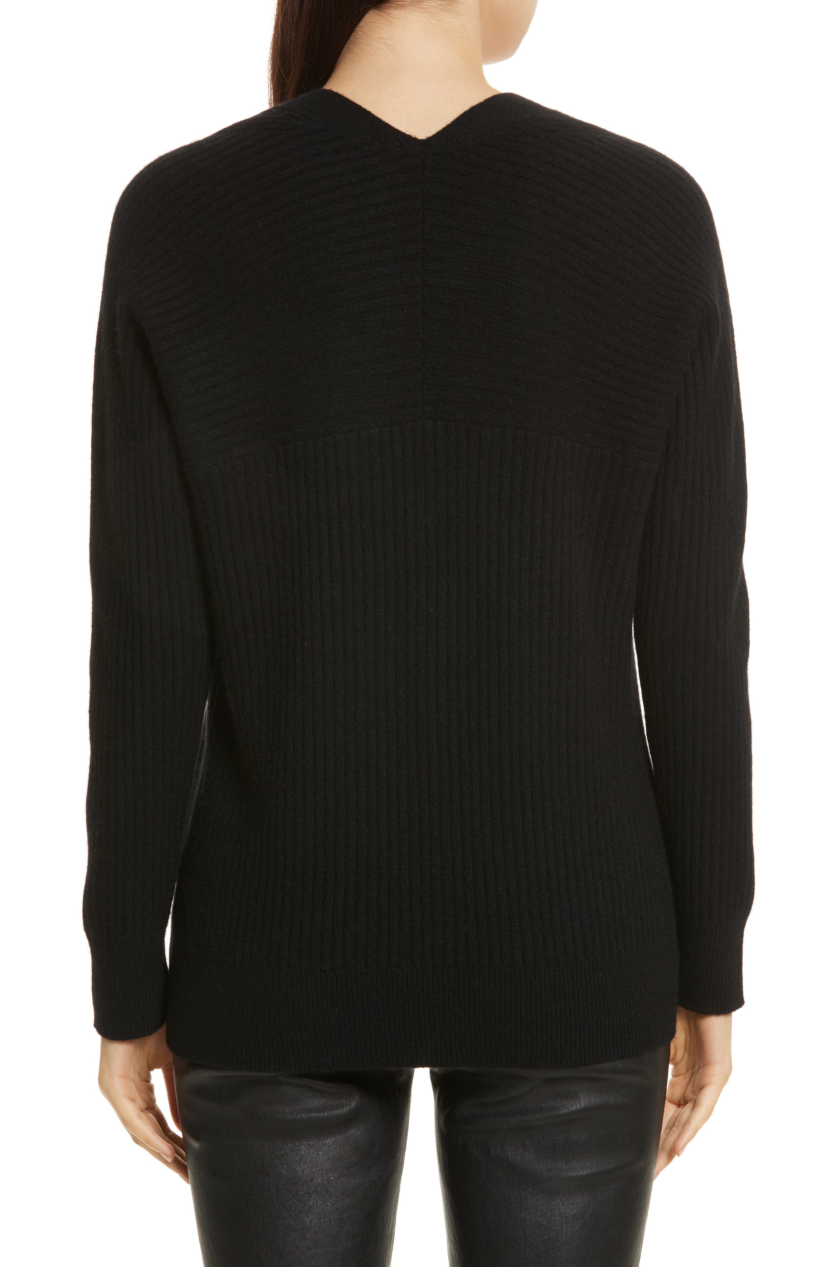 Wool Blend Raglan V-Neck Sweater,                             Alternate thumbnail 4, color,