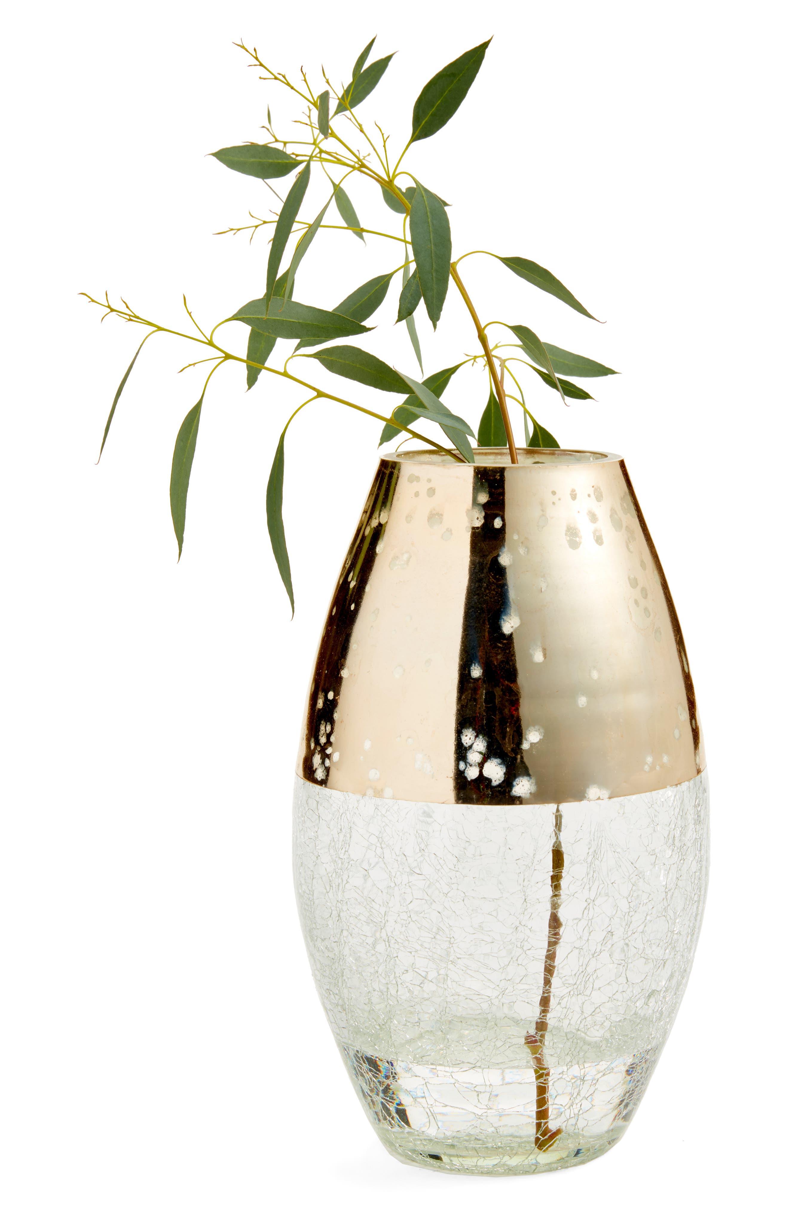 Large Metallic Glass Vase,                             Main thumbnail 1, color,                             GOLD