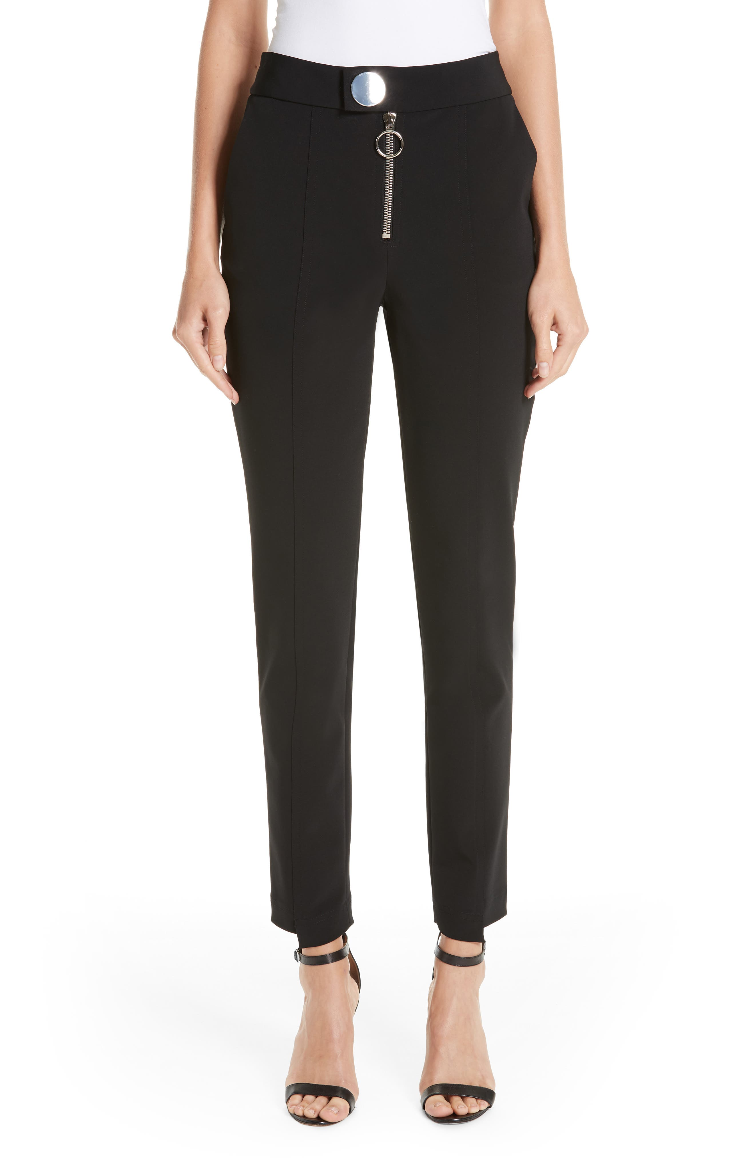Straight Leg Trousers,                         Main,                         color, BLACK