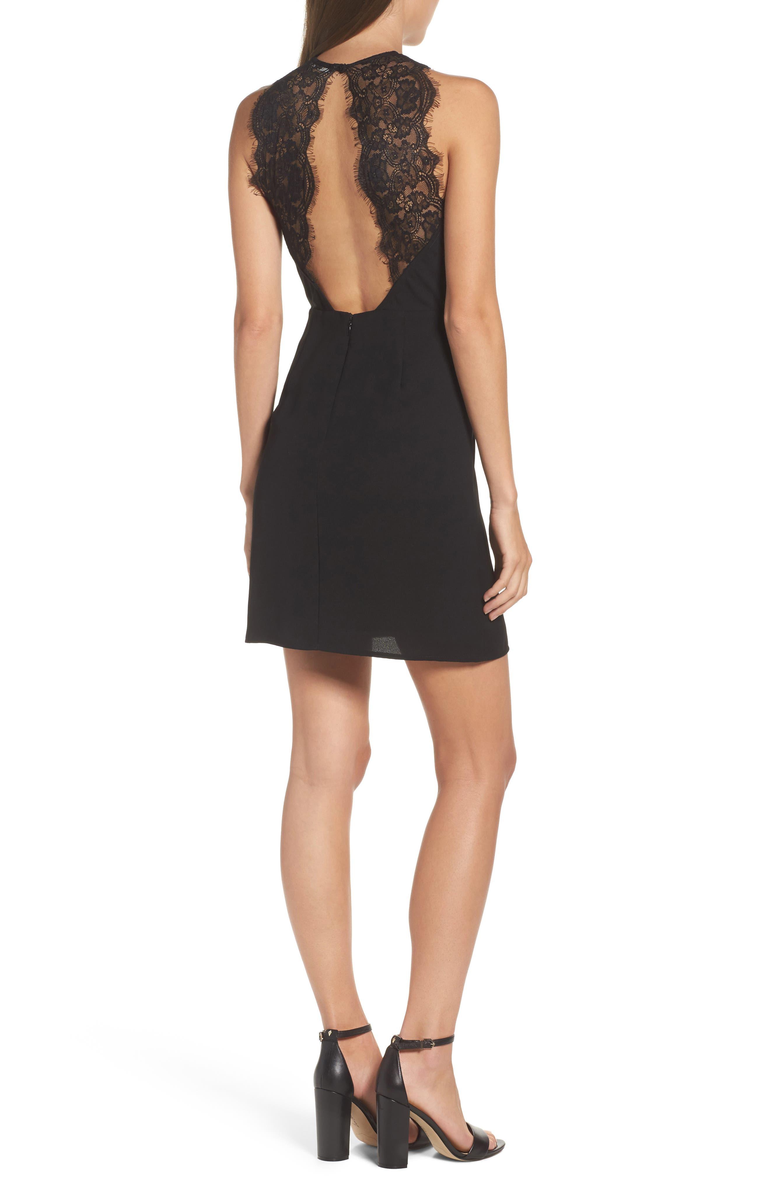 Lace Back Sheath Dress,                             Alternate thumbnail 2, color,                             001