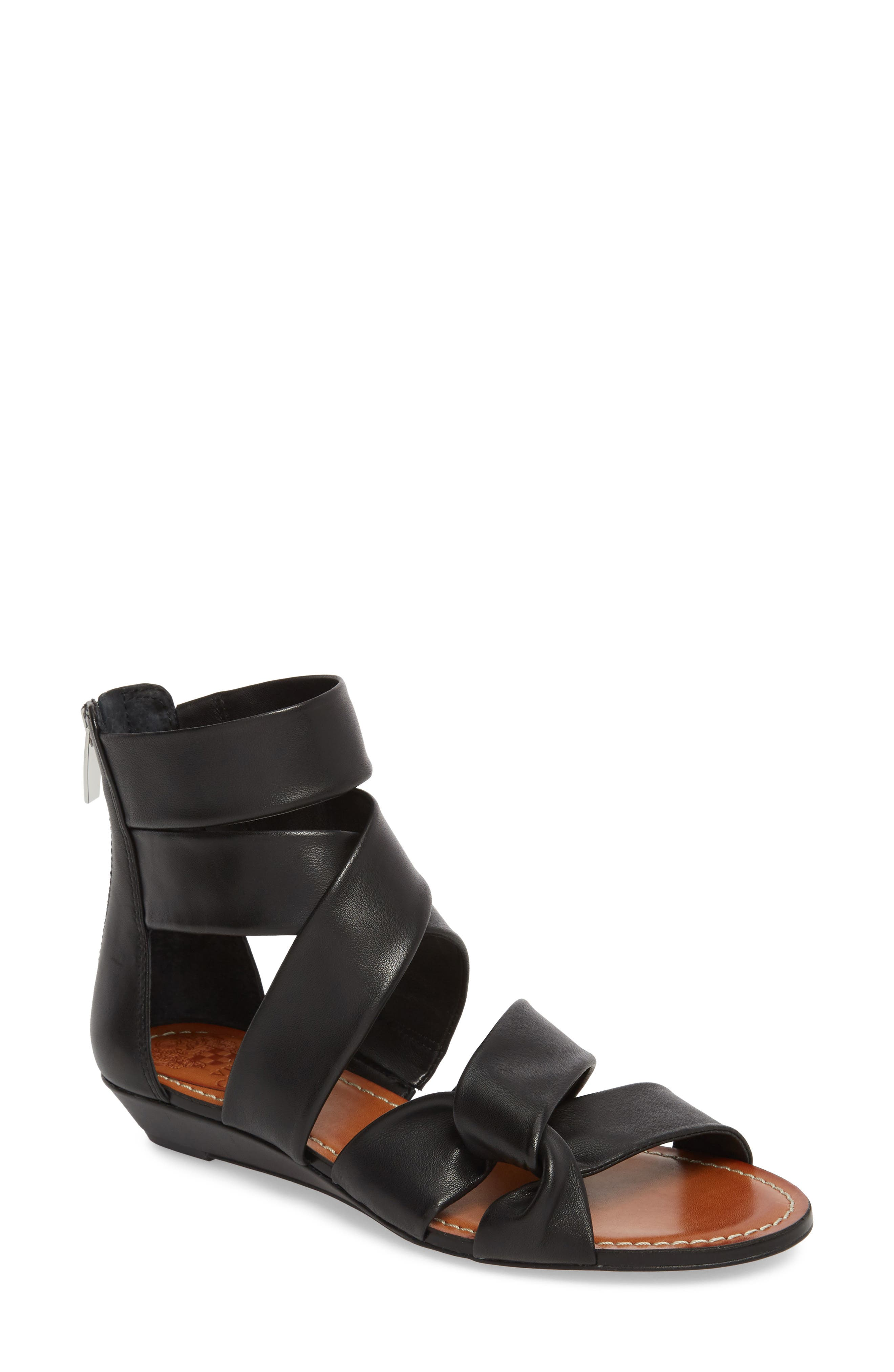 Seevina Low Wedge Sandal,                             Main thumbnail 1, color,                             BLACK LEATHER