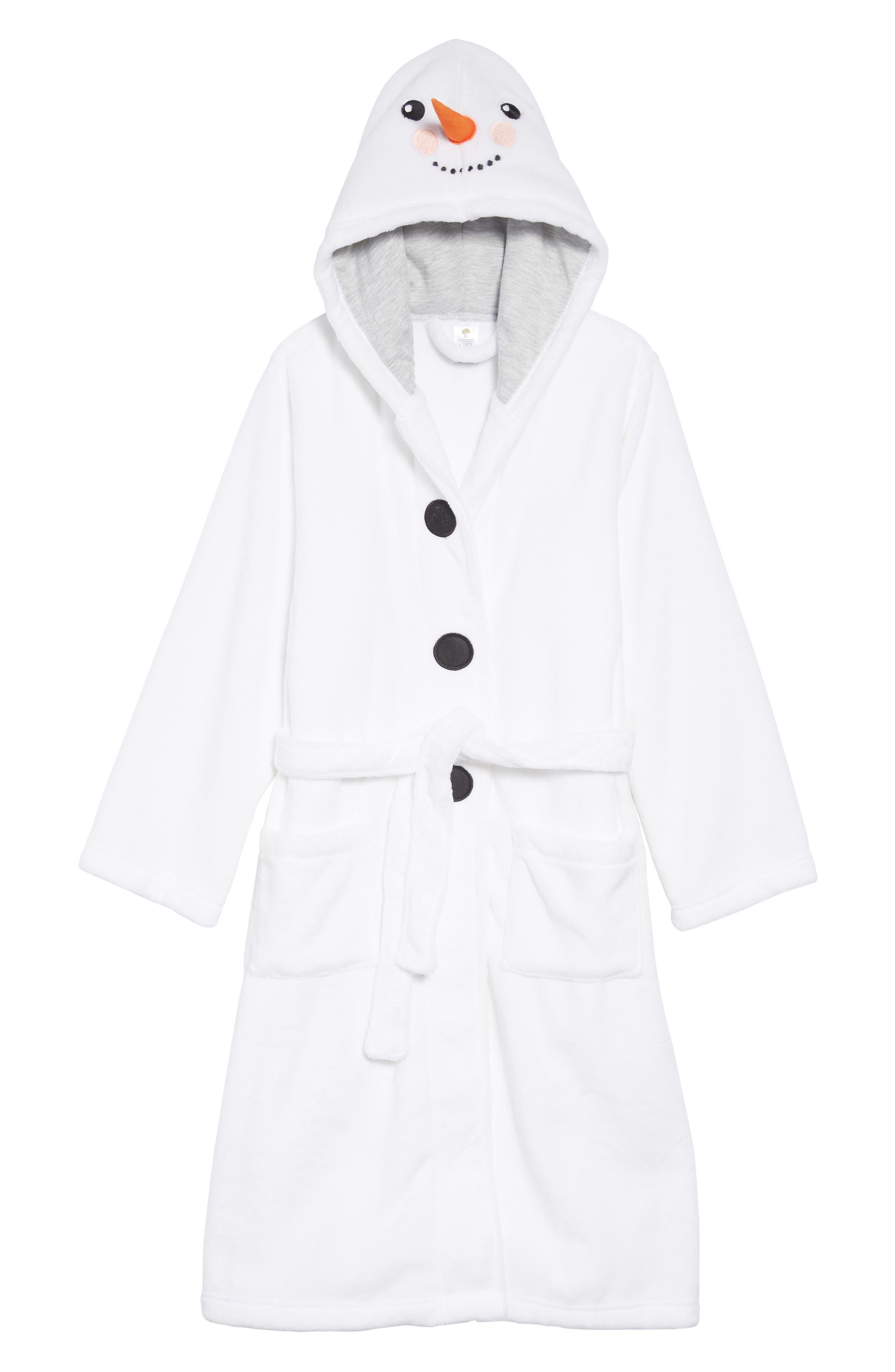 Hooded Robe,                             Main thumbnail 1, color,                             WHITE SNOWMAN