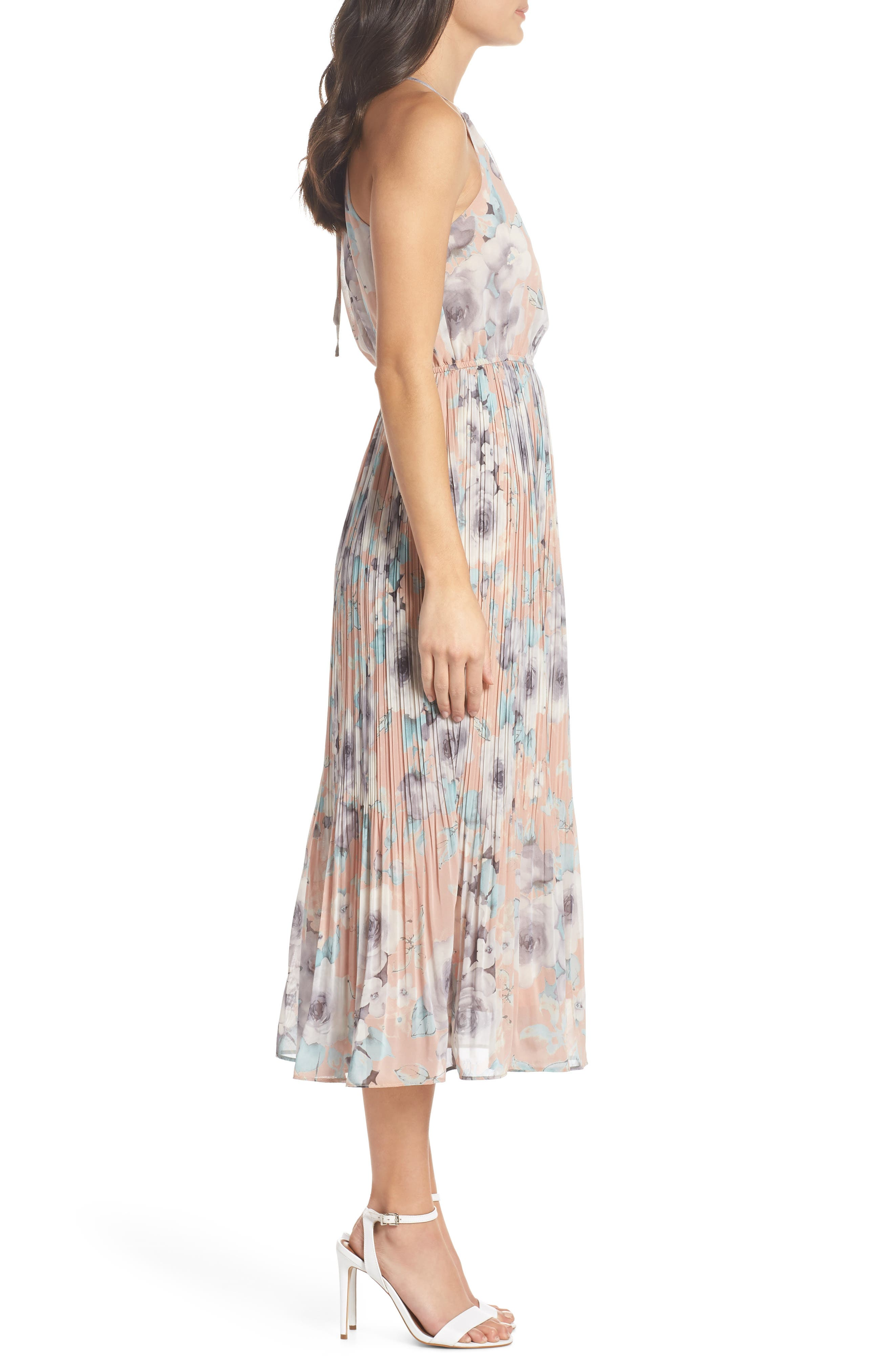 Pleated Floral Halter Dress,                             Alternate thumbnail 3, color,                             650