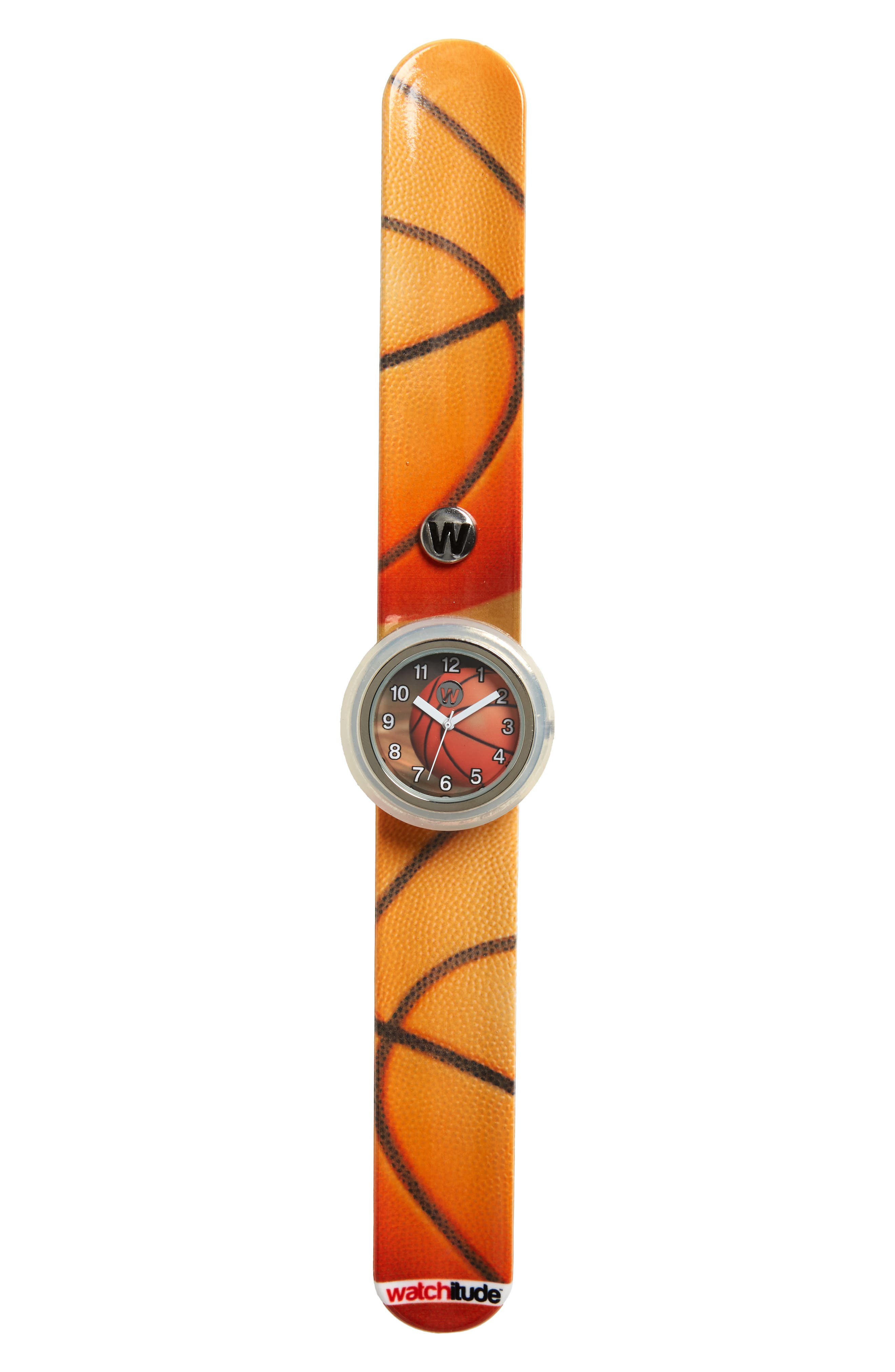 Basketball Slap Watch,                             Main thumbnail 1, color,                             ORANGE