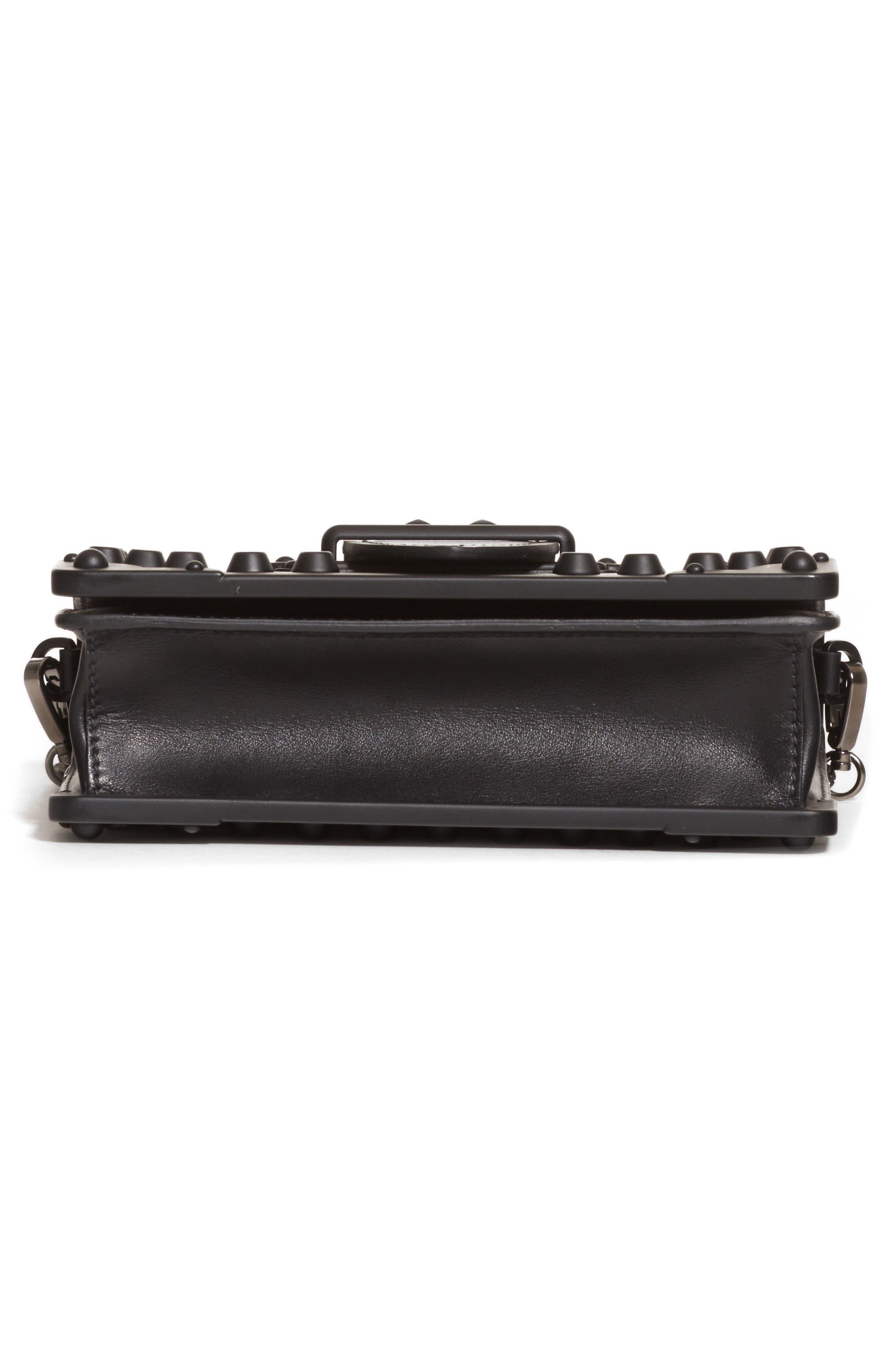 PRADA,                             Cahier Studded Leather Crossbody Bag,                             Alternate thumbnail 5, color,                             NERO/ NERO