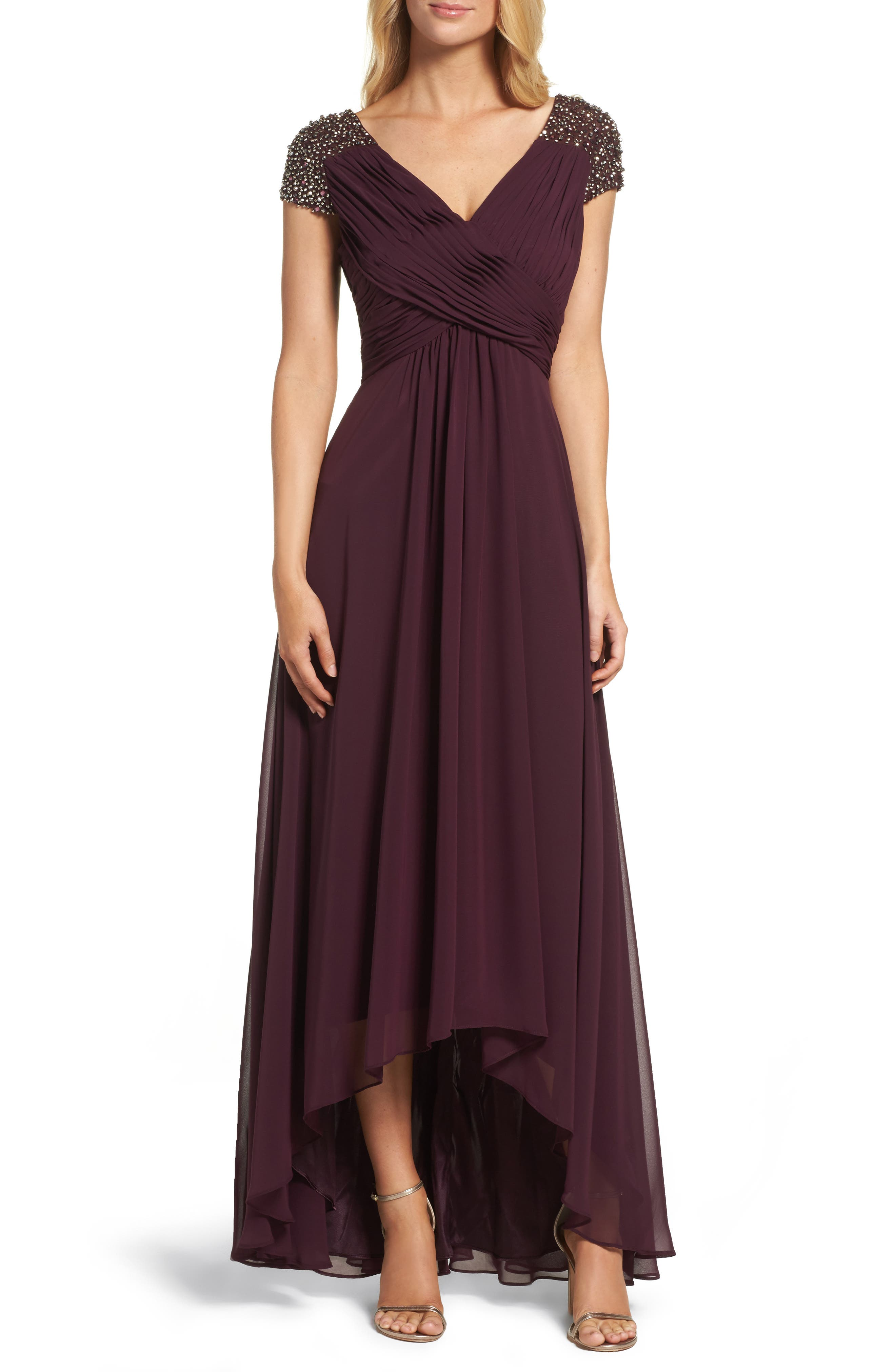 Embellished Pleated Chiffon Gown,                             Main thumbnail 3, color,