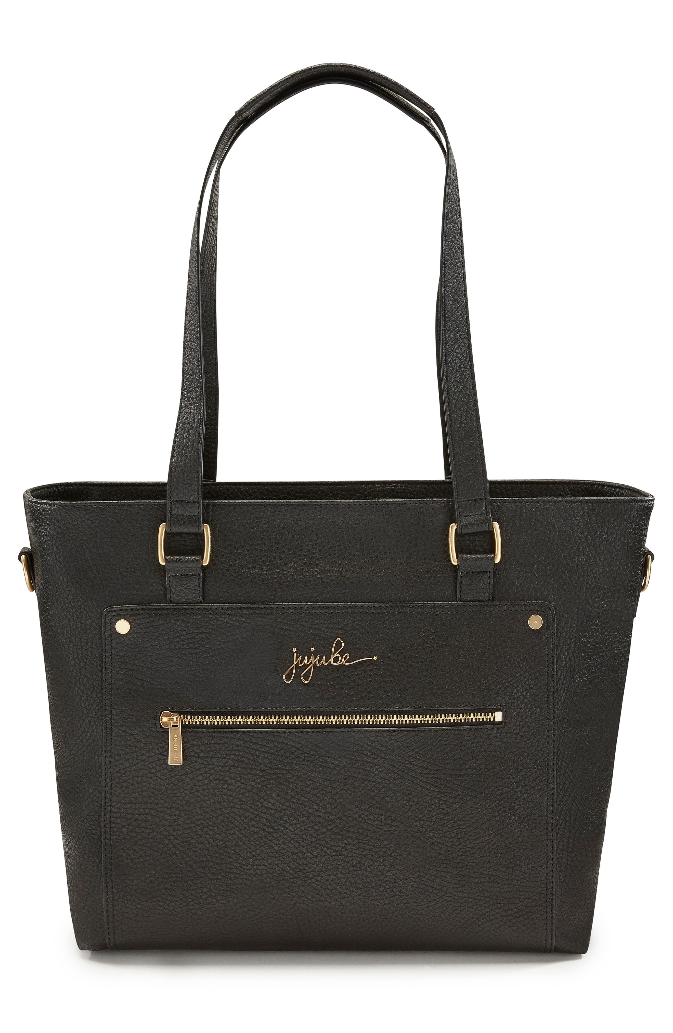 Ever Collection Everyday Faux Leather Diaper Tote,                             Alternate thumbnail 6, color,                             NOIR