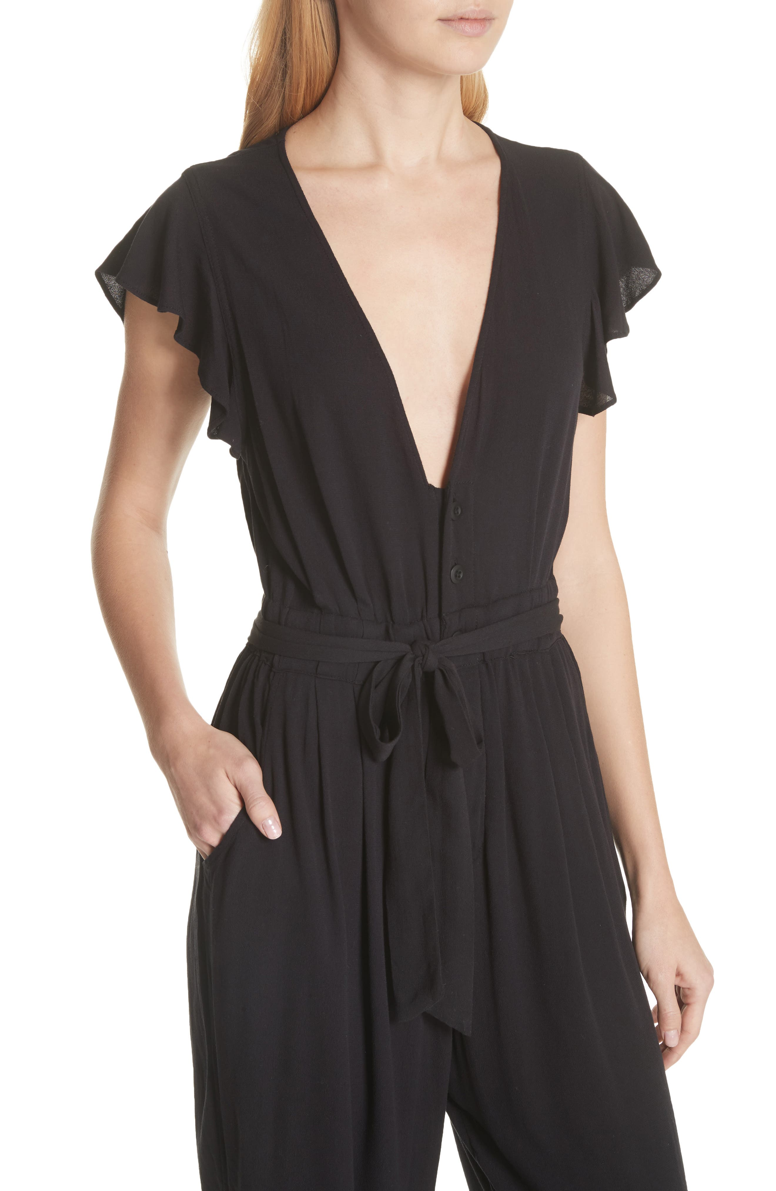 FREE PEOPLE,                             Ruffle Your Feather Jumpsuit,                             Alternate thumbnail 4, color,                             001