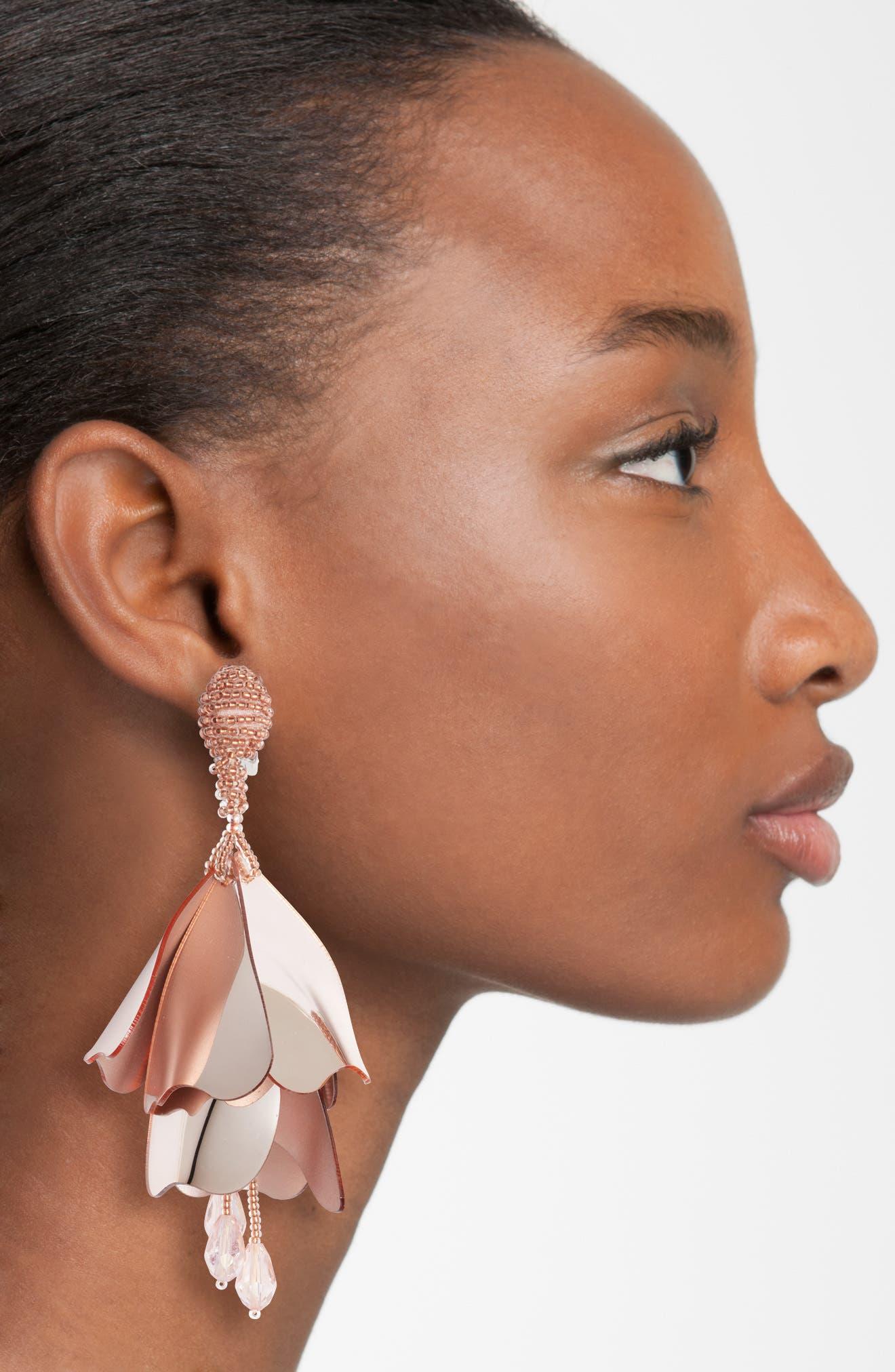Large Impatiens Flower Clip Earrings,                             Alternate thumbnail 18, color,