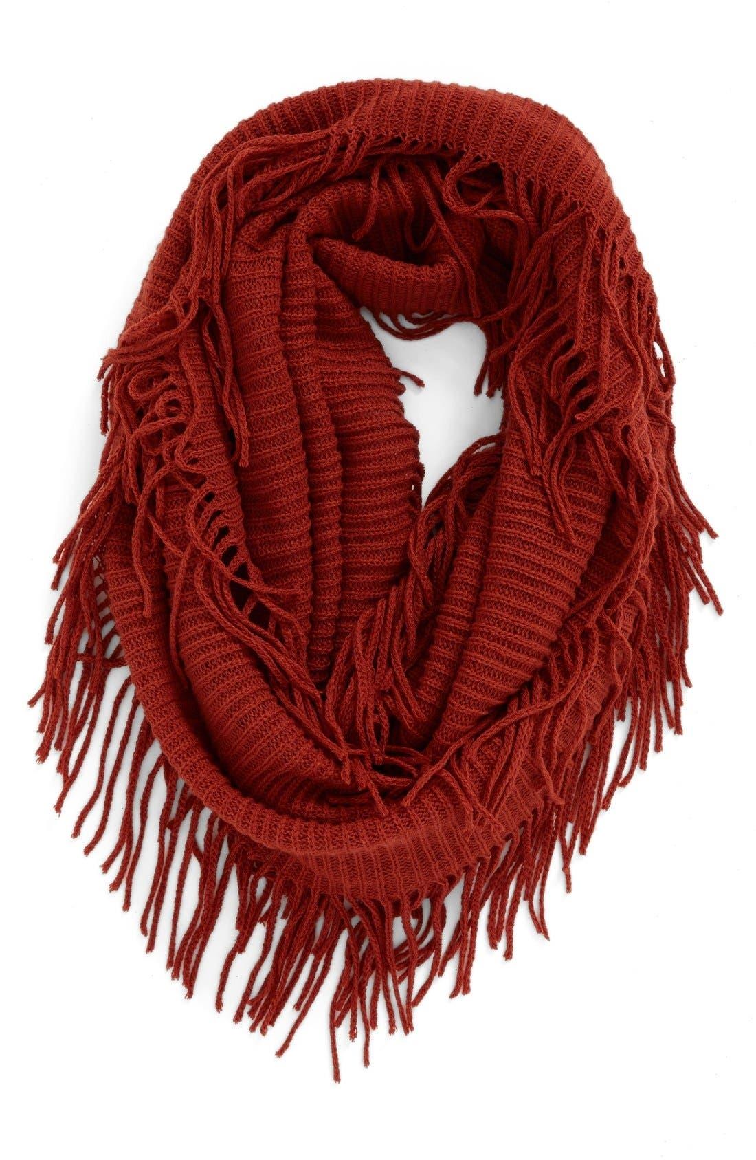 Rib Knit Fringe Infinity Scarf,                             Main thumbnail 5, color,