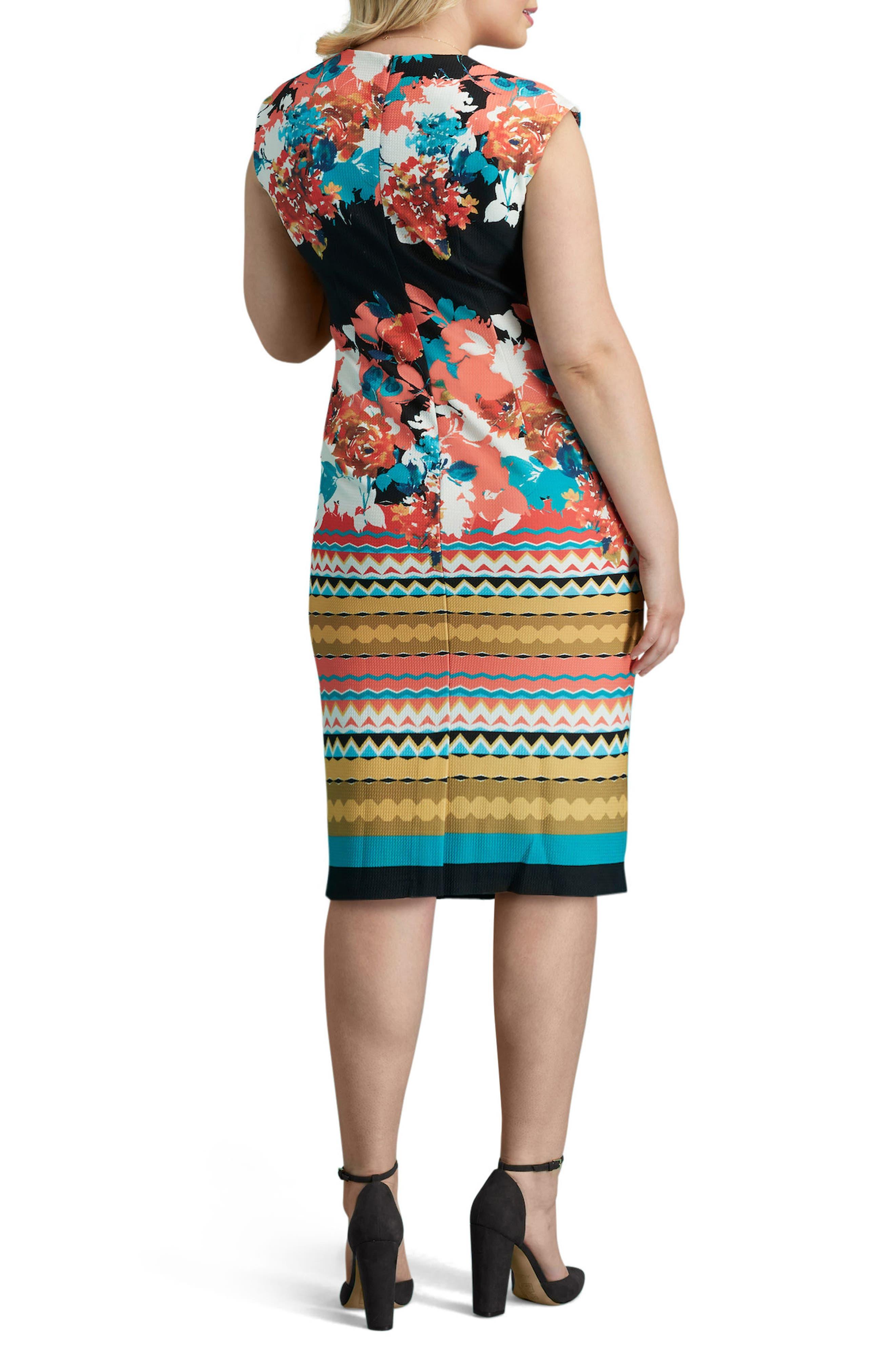 Print Piqué Sheath Dress,                             Alternate thumbnail 2, color,                             008