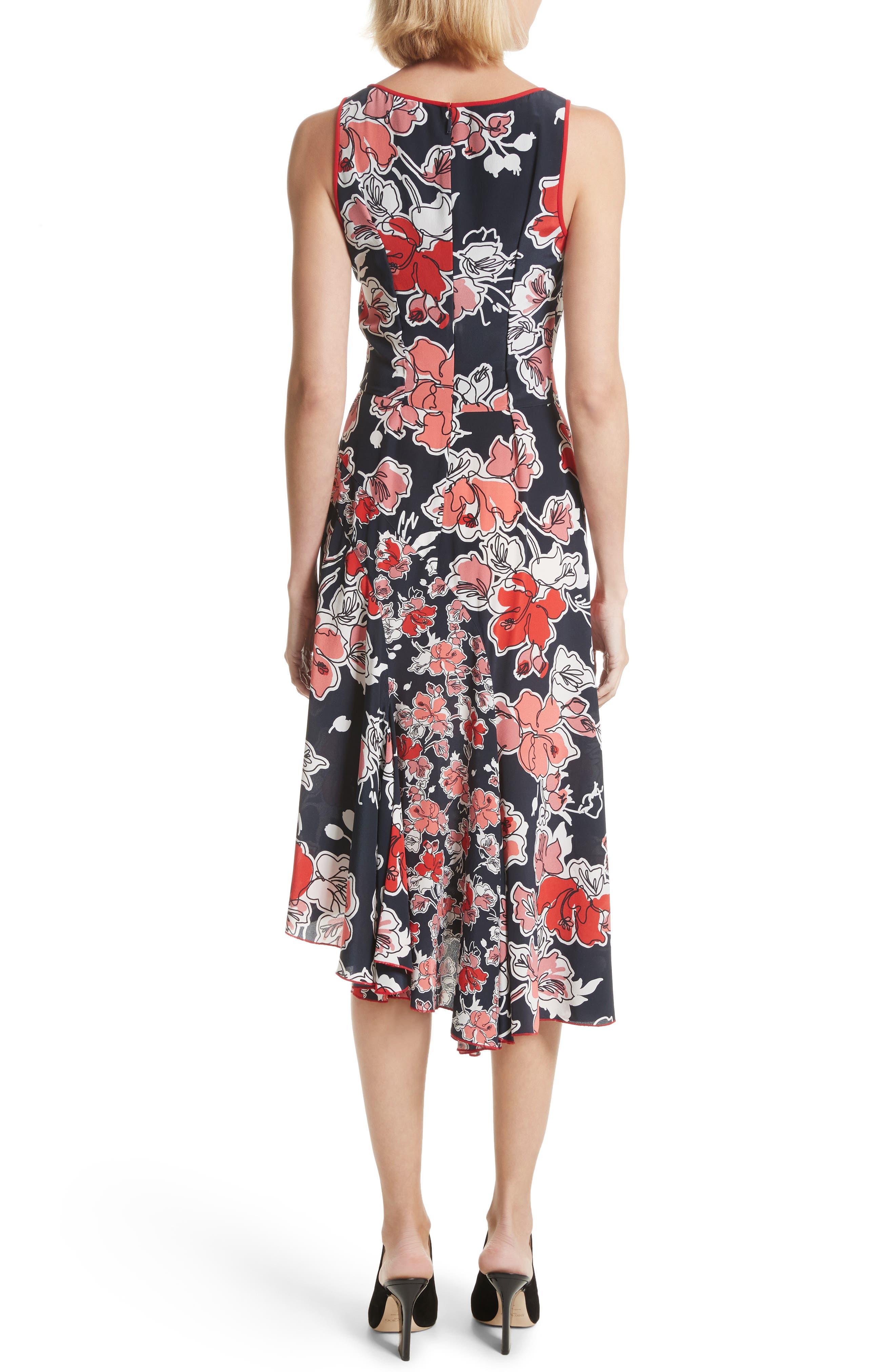Floral Print Silk Asymmetrical Dress,                             Alternate thumbnail 2, color,                             493