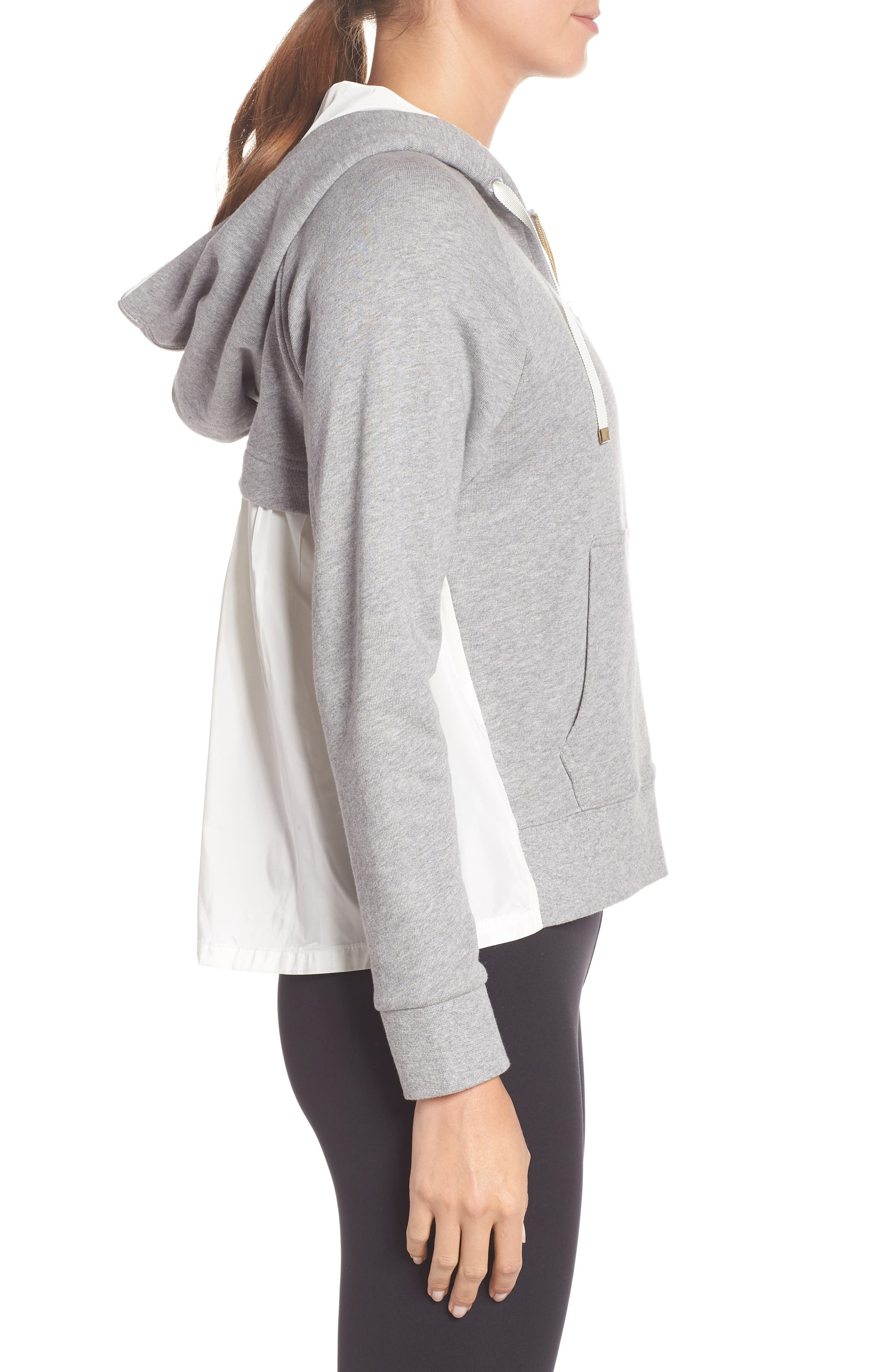mixed media full zip sweatshirt,                             Alternate thumbnail 3, color,                             FLINT HEATHER