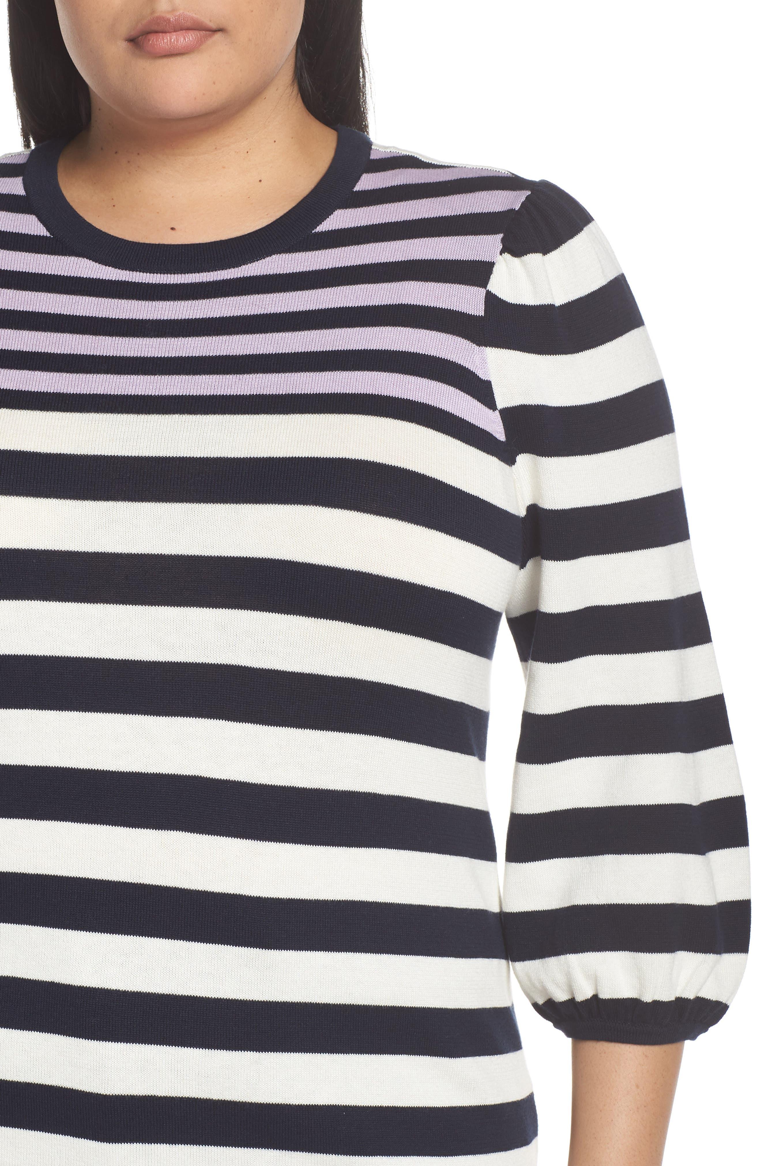 Stripe Blouson Sleeve Sweater,                             Alternate thumbnail 4, color,                             CAVIAR