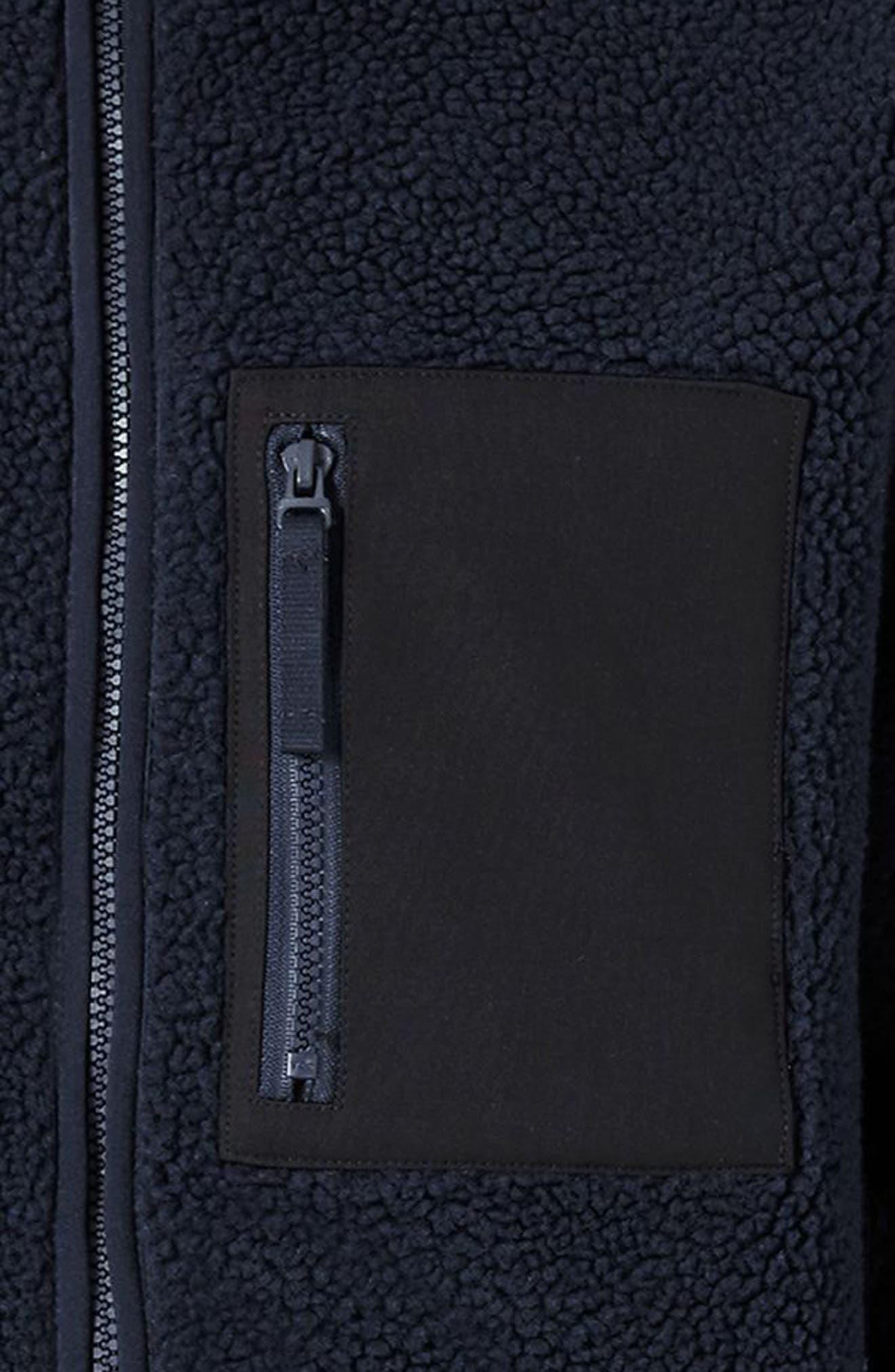 Textured Borg Fleece Jacket,                             Alternate thumbnail 4, color,                             401