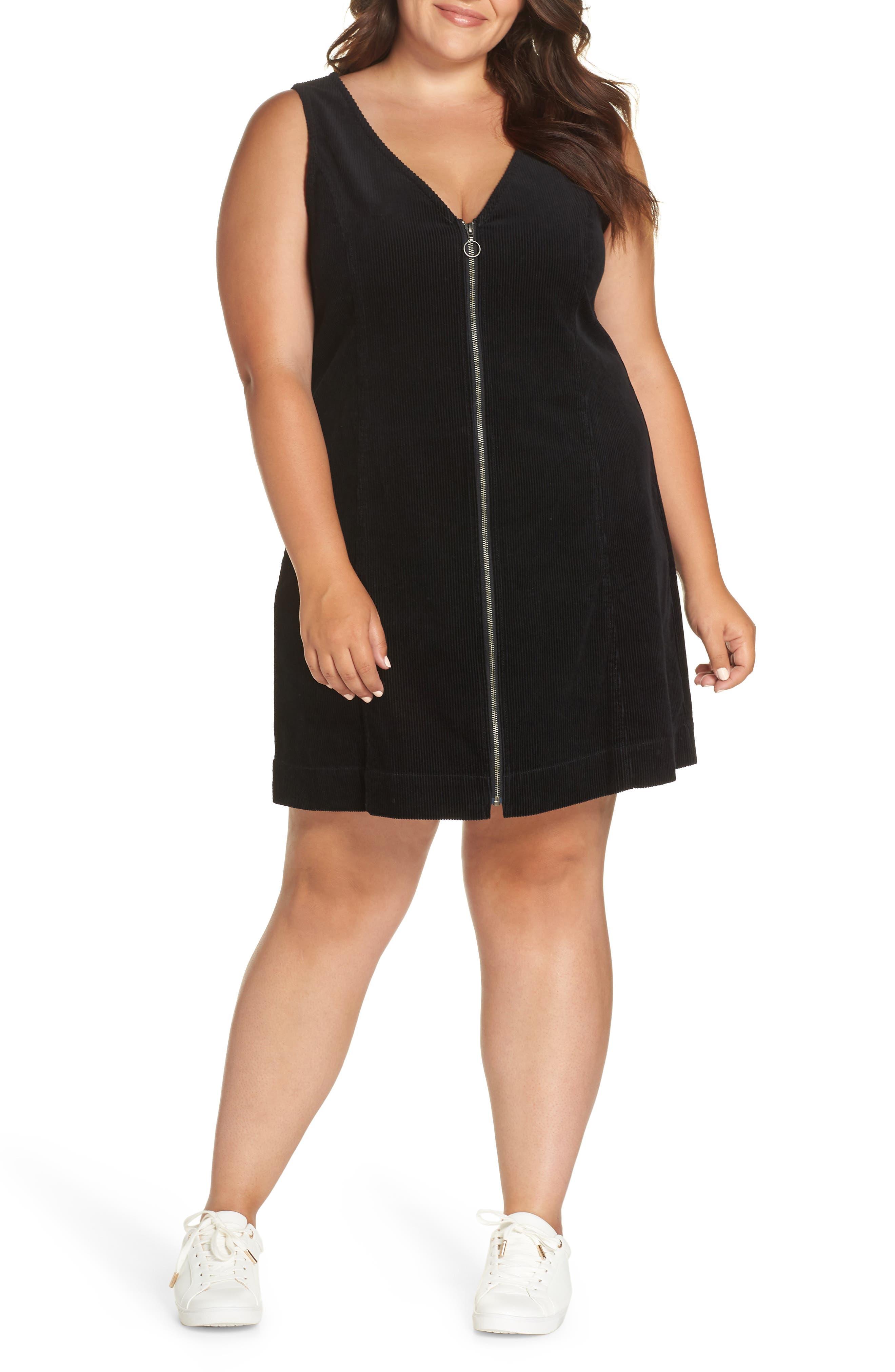Corduroy Pinafore Dress,                             Main thumbnail 1, color,                             BLACK