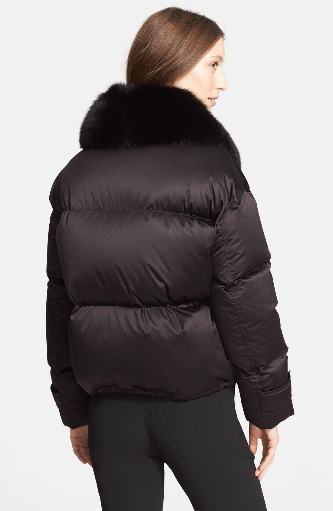 Goose Down Puffer Jacket with Removable Genuine Fox Fur Collar,                             Alternate thumbnail 4, color,                             001
