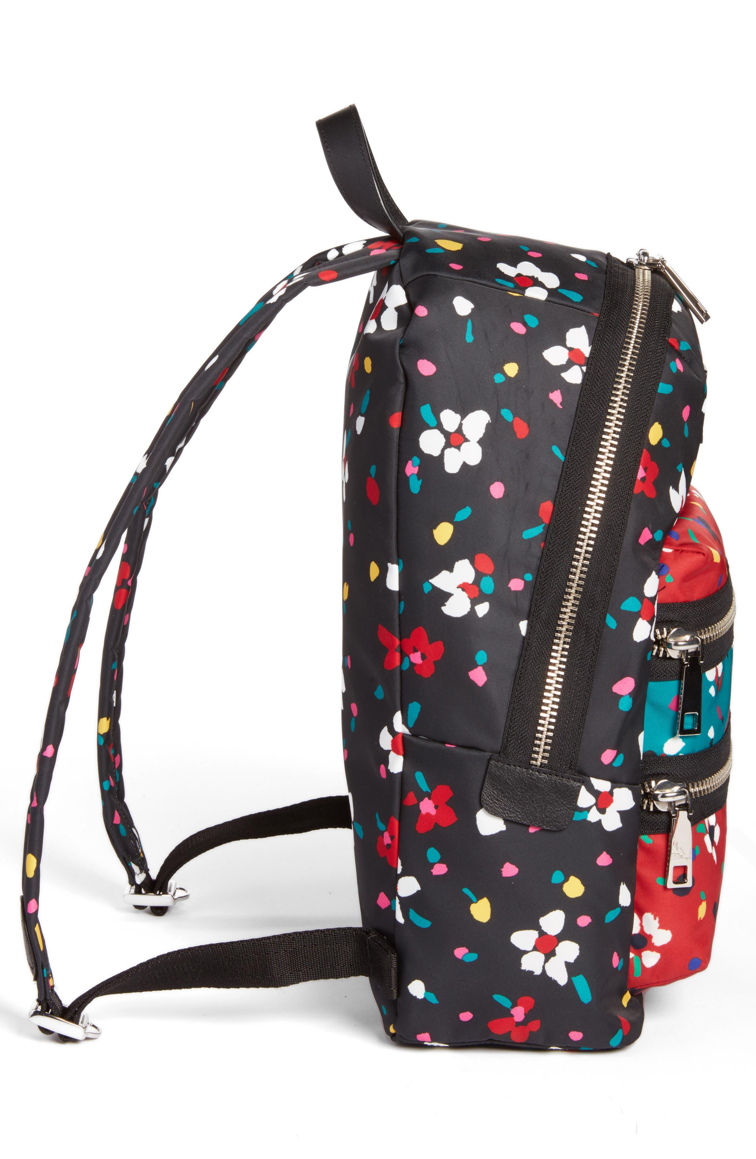 Biker Floral Print Backpack,                             Alternate thumbnail 5, color,                             002