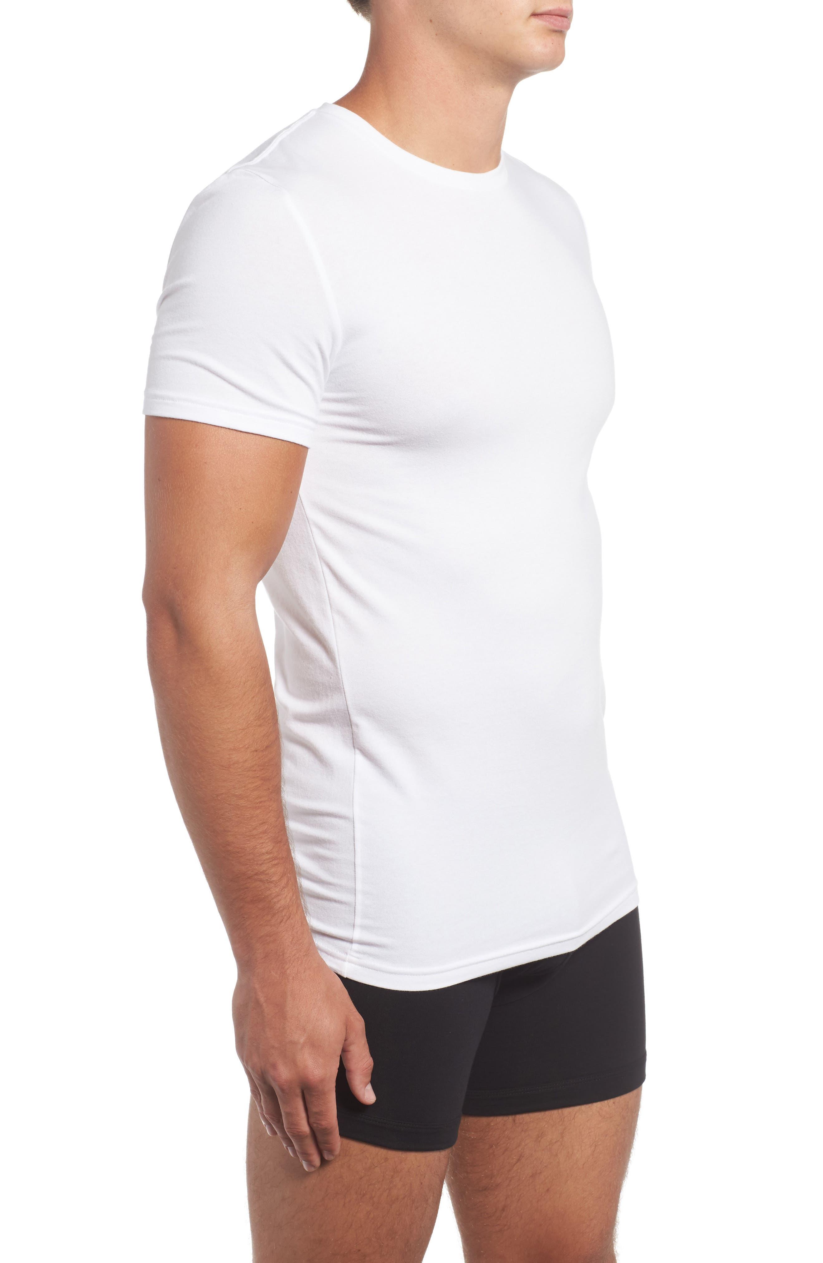 Trim Fit 3-Pack Stretch Cotton Crewneck T-Shirt,                             Alternate thumbnail 4, color,                             WHITE