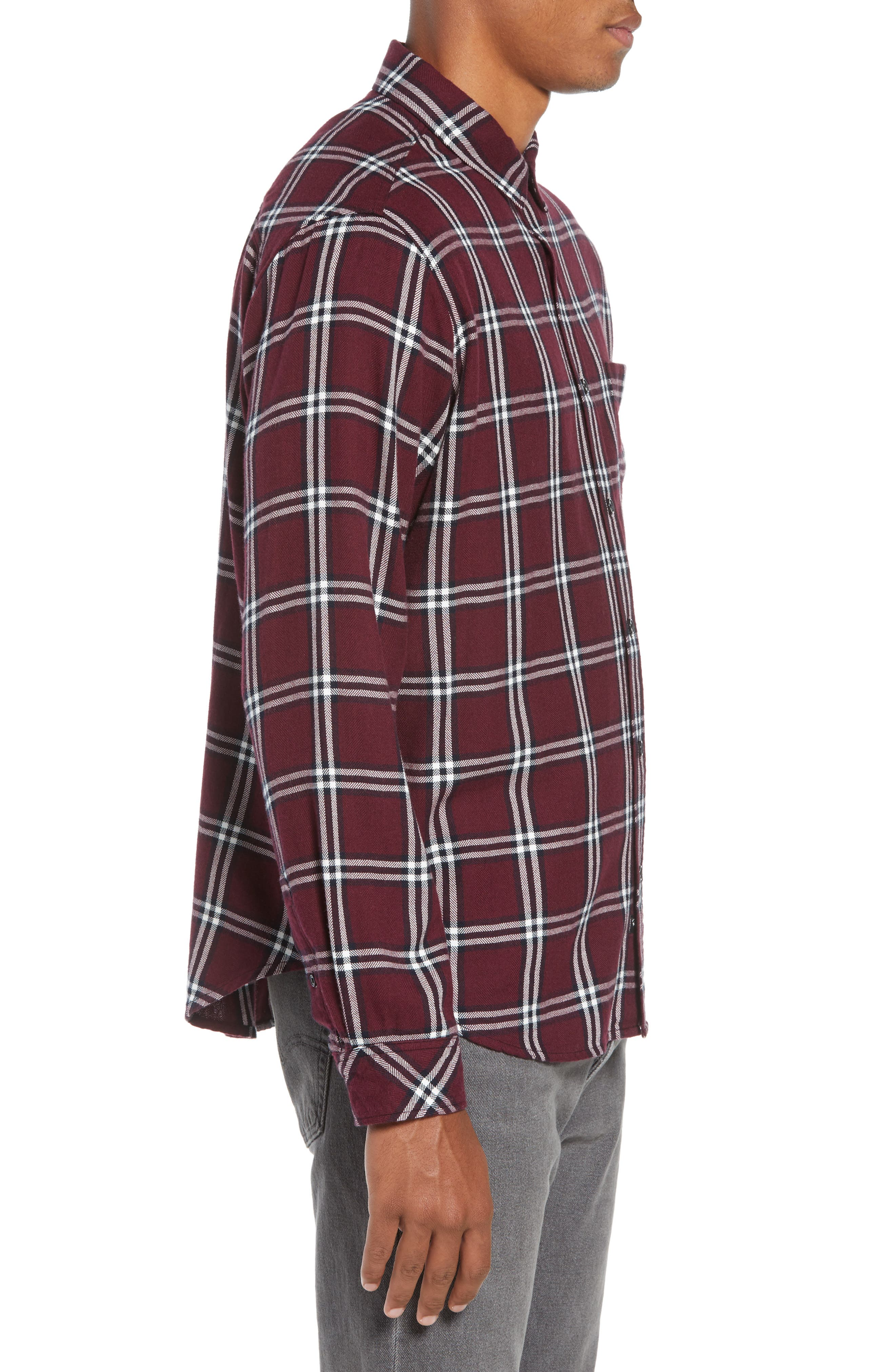 Lennox Regular Fit Plaid Sport Shirt,                             Alternate thumbnail 4, color,                             001