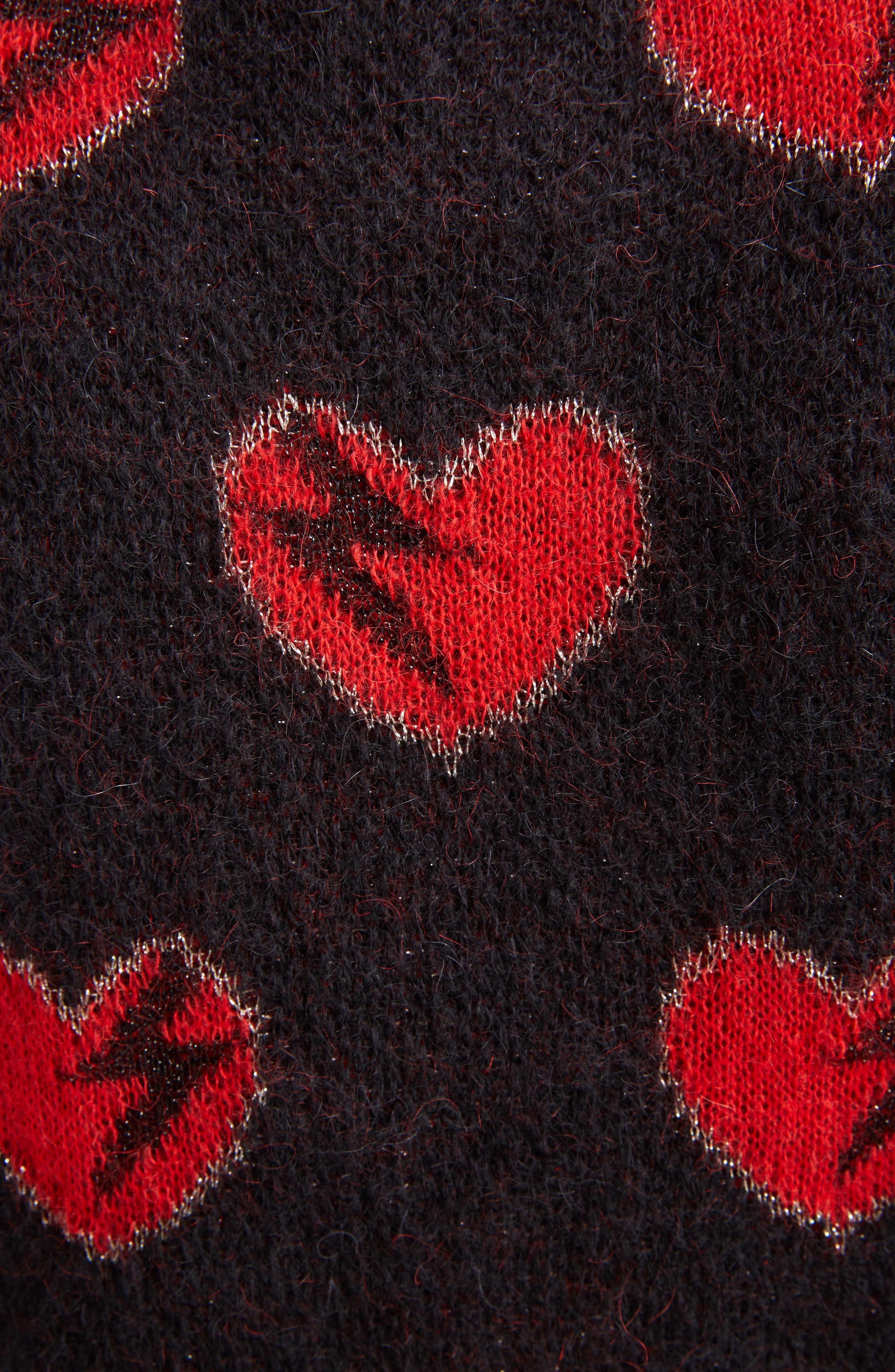 Heart Jacquard Mohair Blend Sweater,                             Alternate thumbnail 5, color,