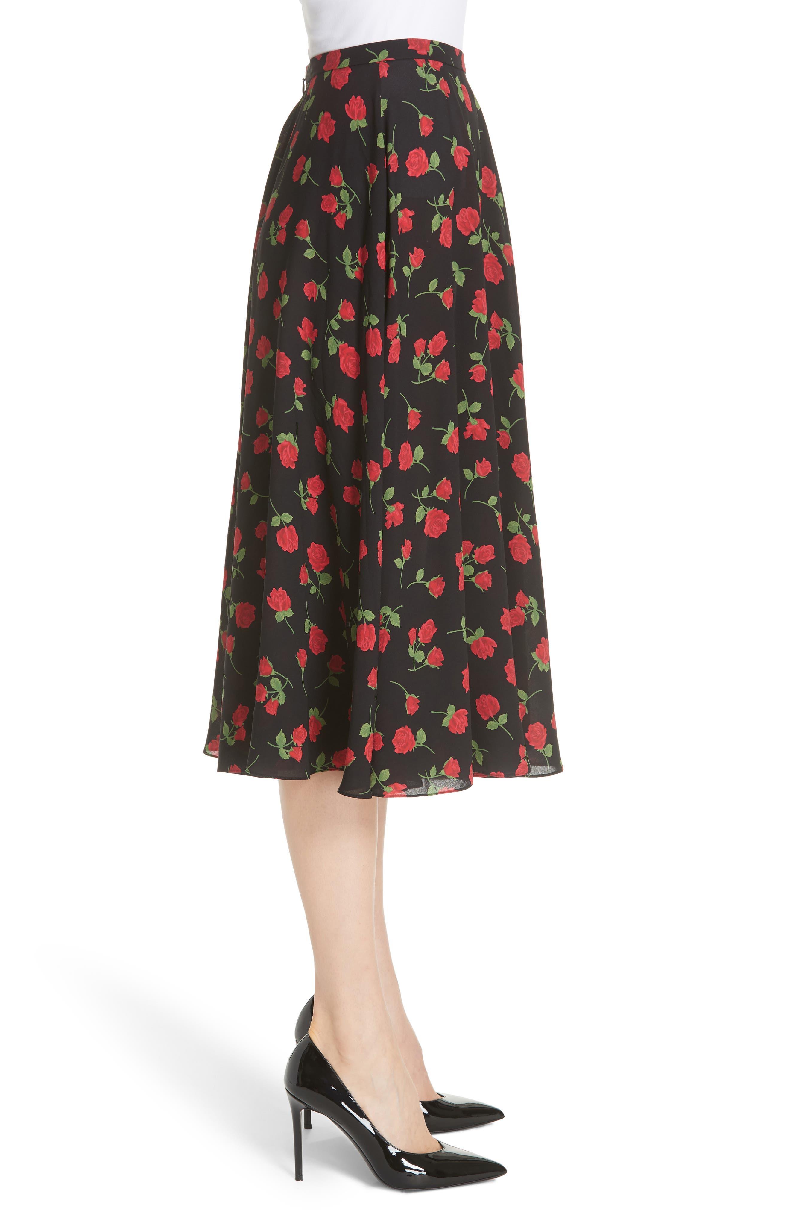Rose Print Silk Georgette Dance Skirt,                             Alternate thumbnail 3, color,                             CRIMSON