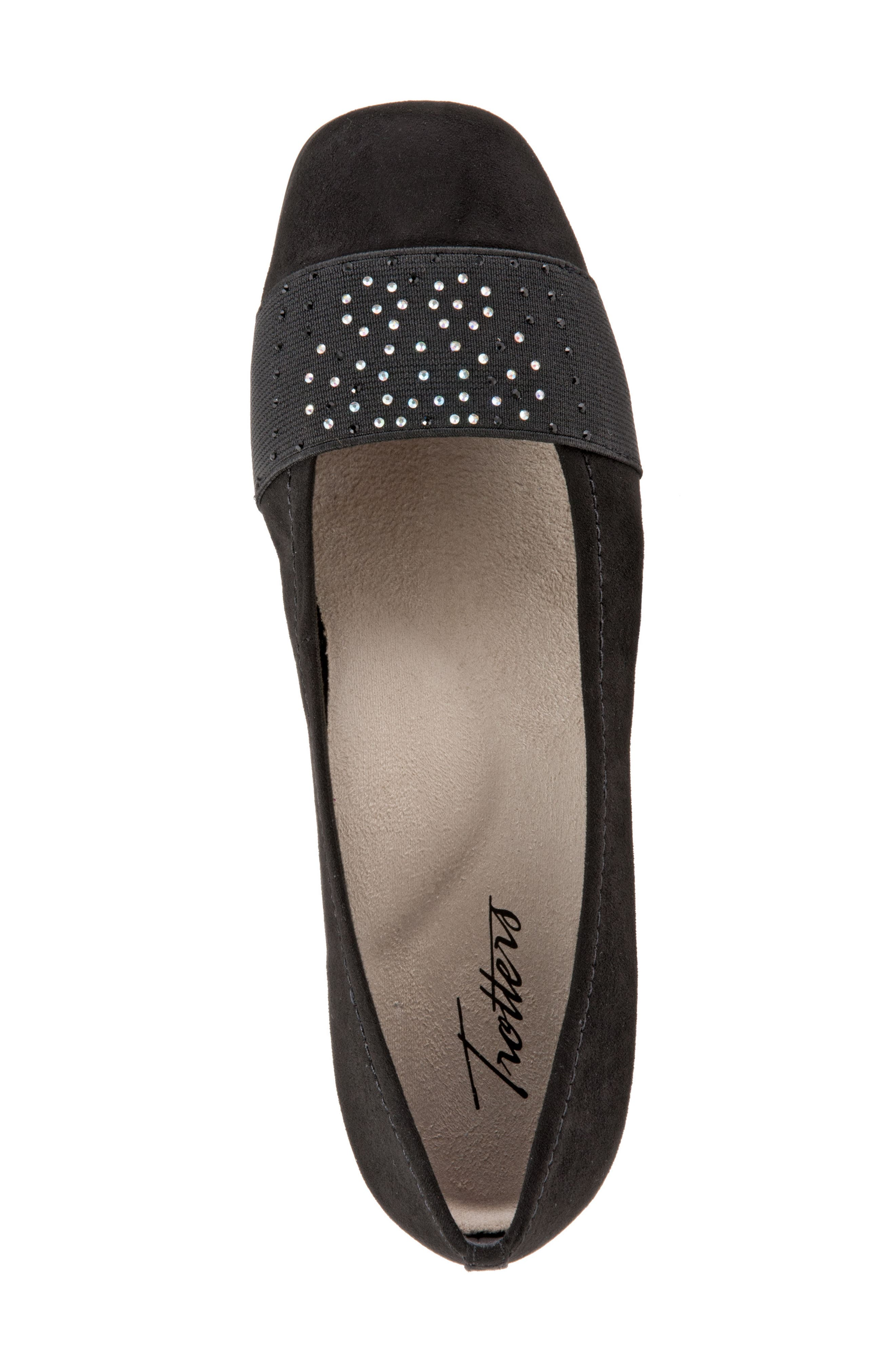 TROTTERS,                             Samantha Flat,                             Alternate thumbnail 5, color,                             BLACK SUEDE