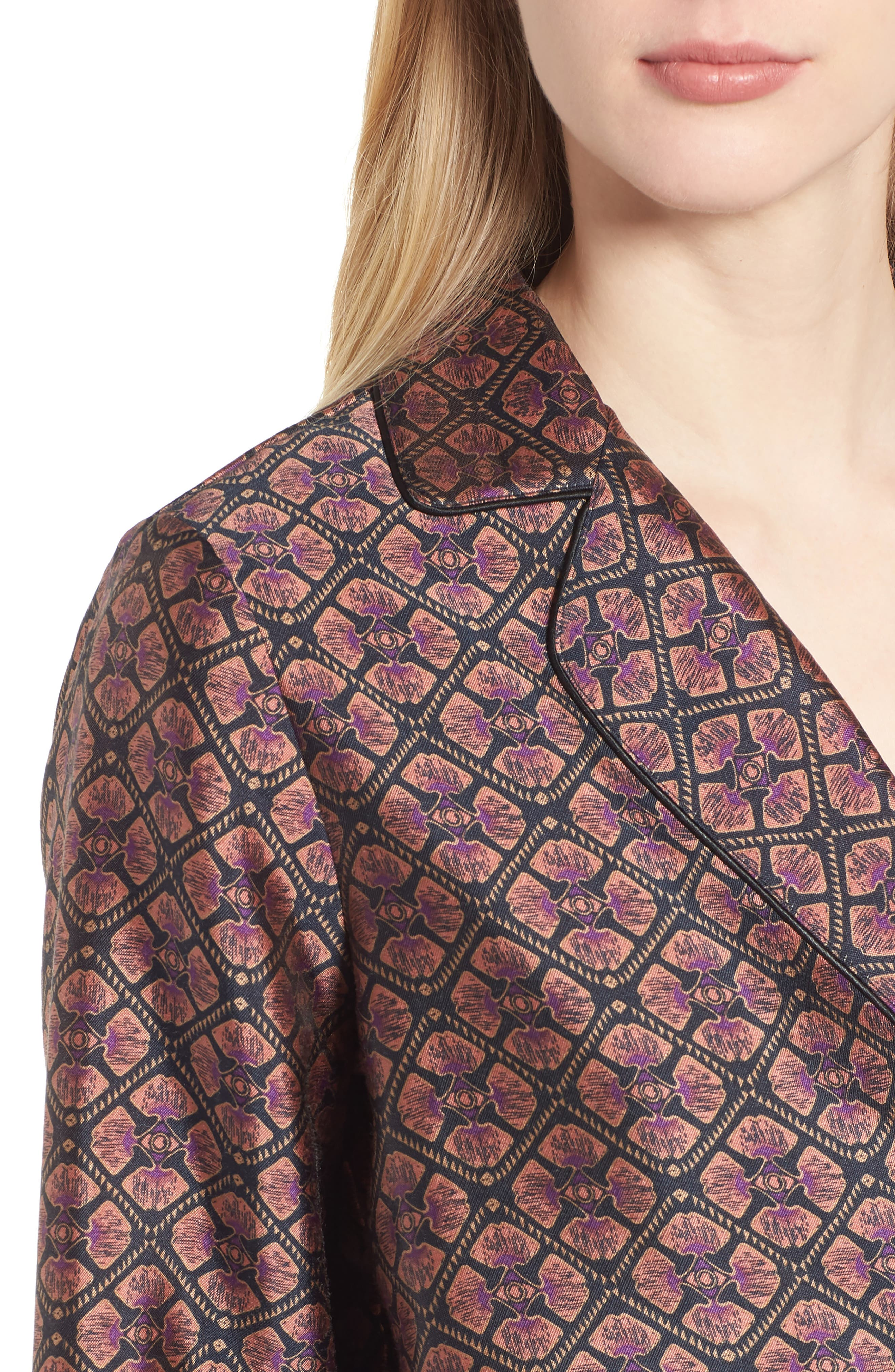 Double Breasted Print Pajama Blazer,                             Alternate thumbnail 4, color,                             651