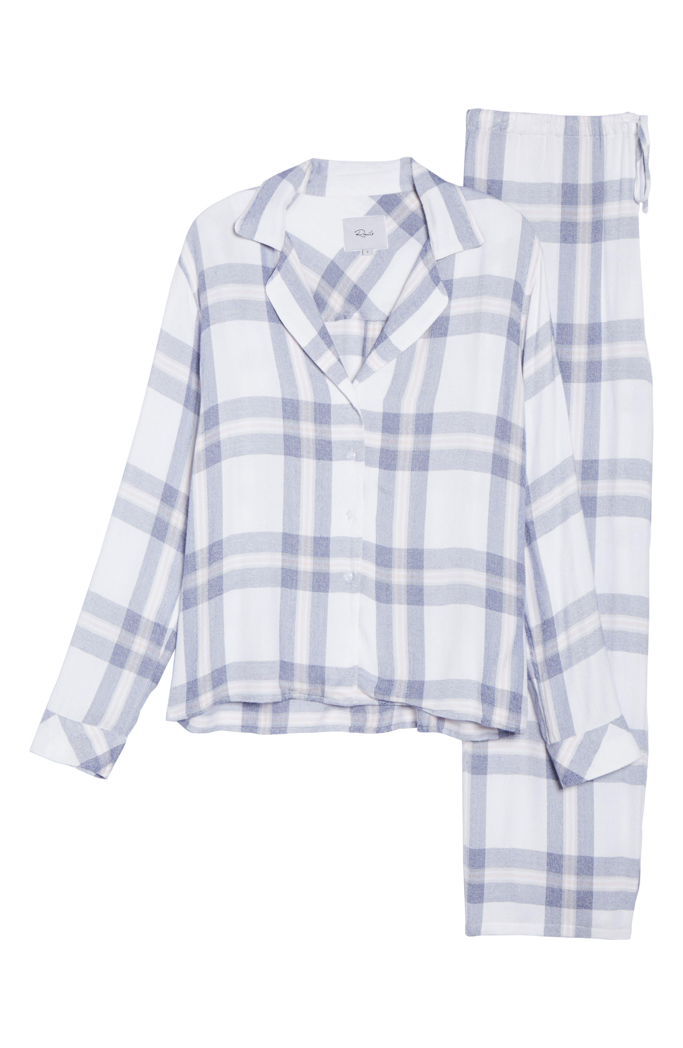 Plaid Pajamas,                             Alternate thumbnail 6, color,                             WHITE/ CHAMBRAY/ PETAL