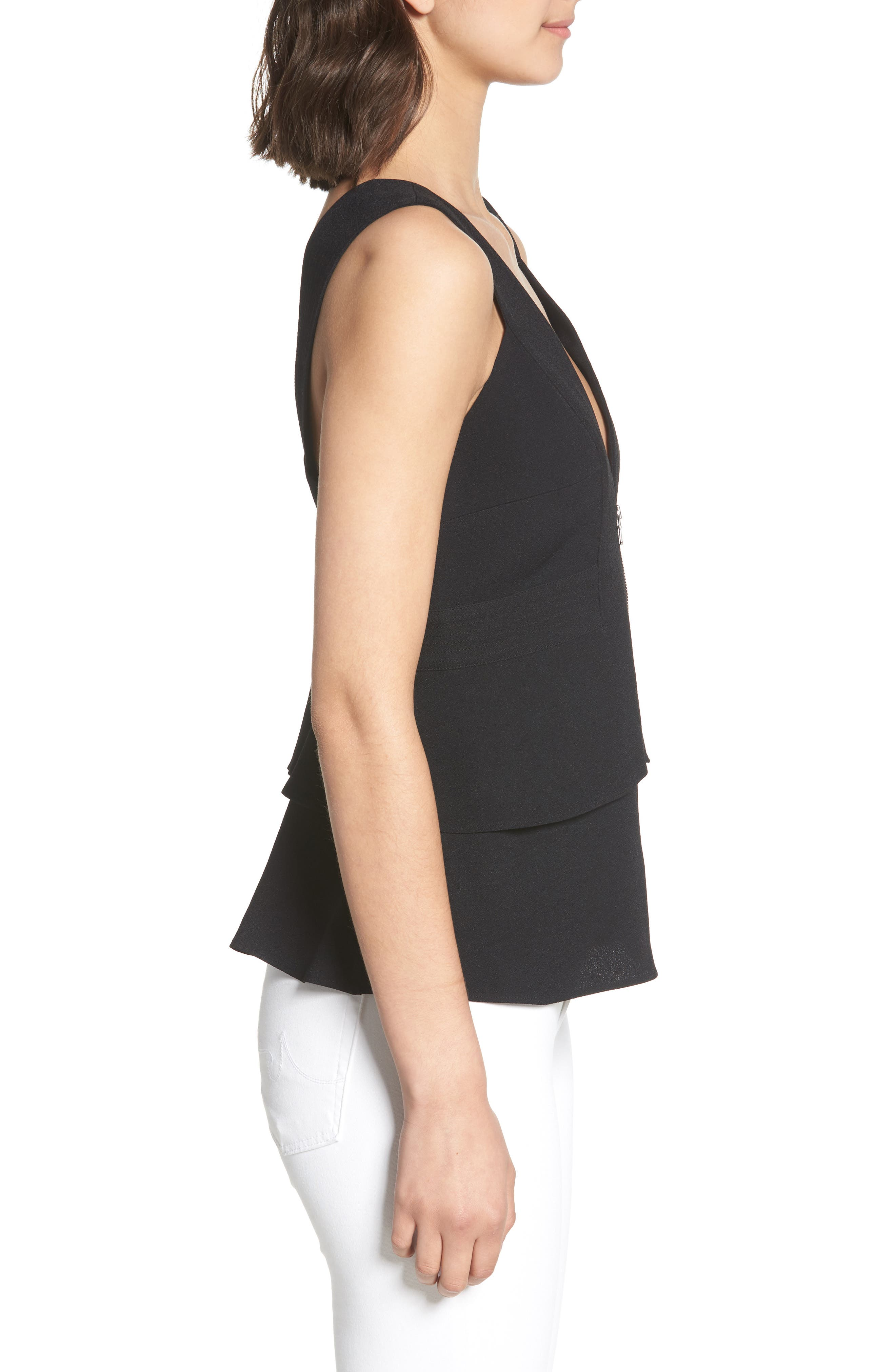 Trapunto Zip Front Sleeveless Top,                             Alternate thumbnail 3, color,                             BLACK
