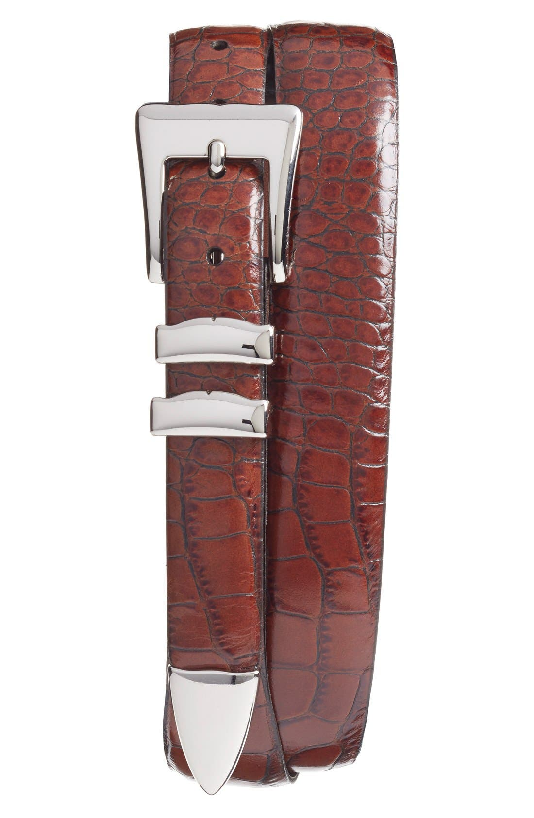 Alligator Embossed Leather Belt,                         Main,                         color, COGNAC