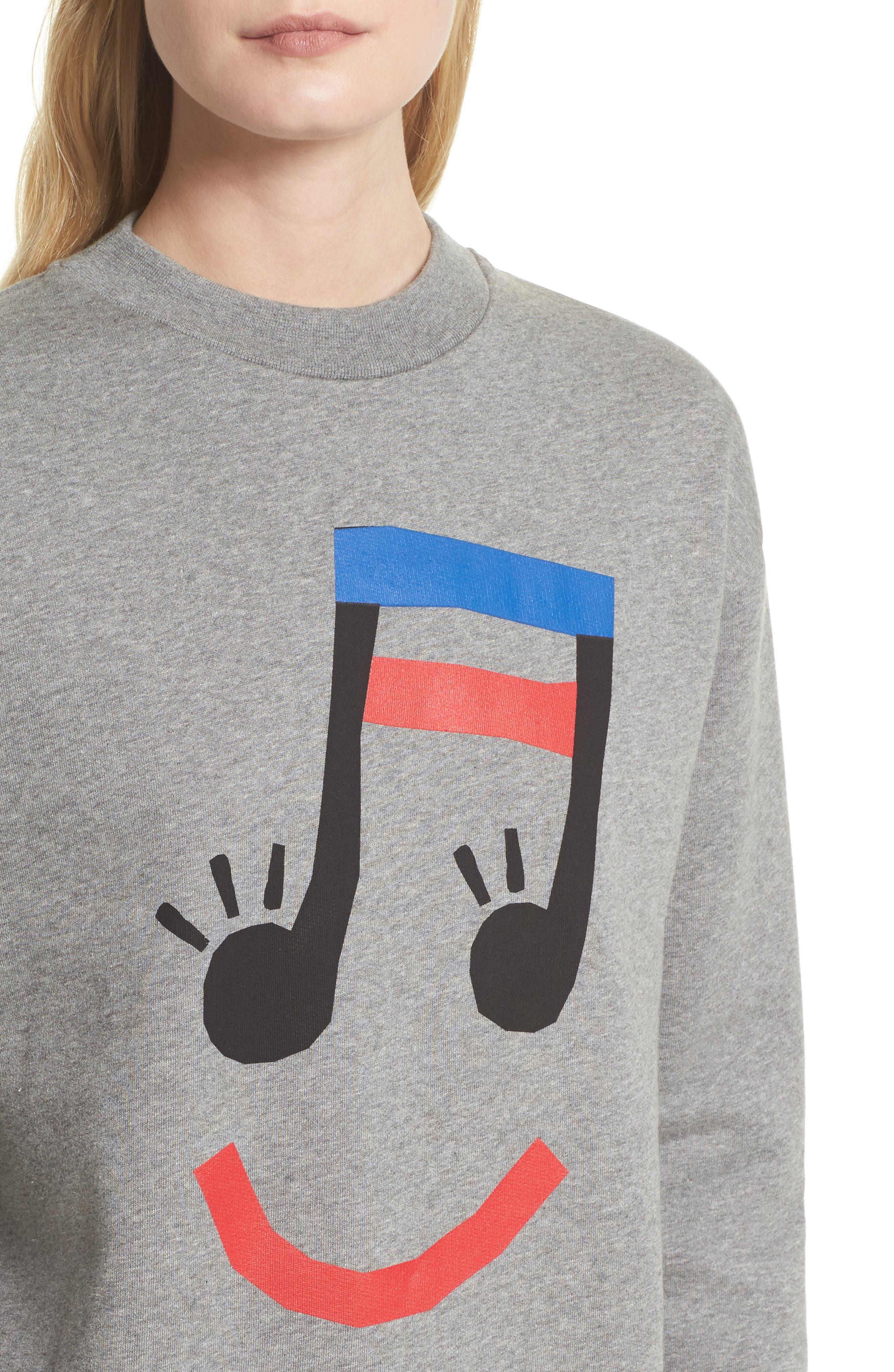 être cécile Music Face Boyfriend Sweatshirt,                             Alternate thumbnail 4, color,