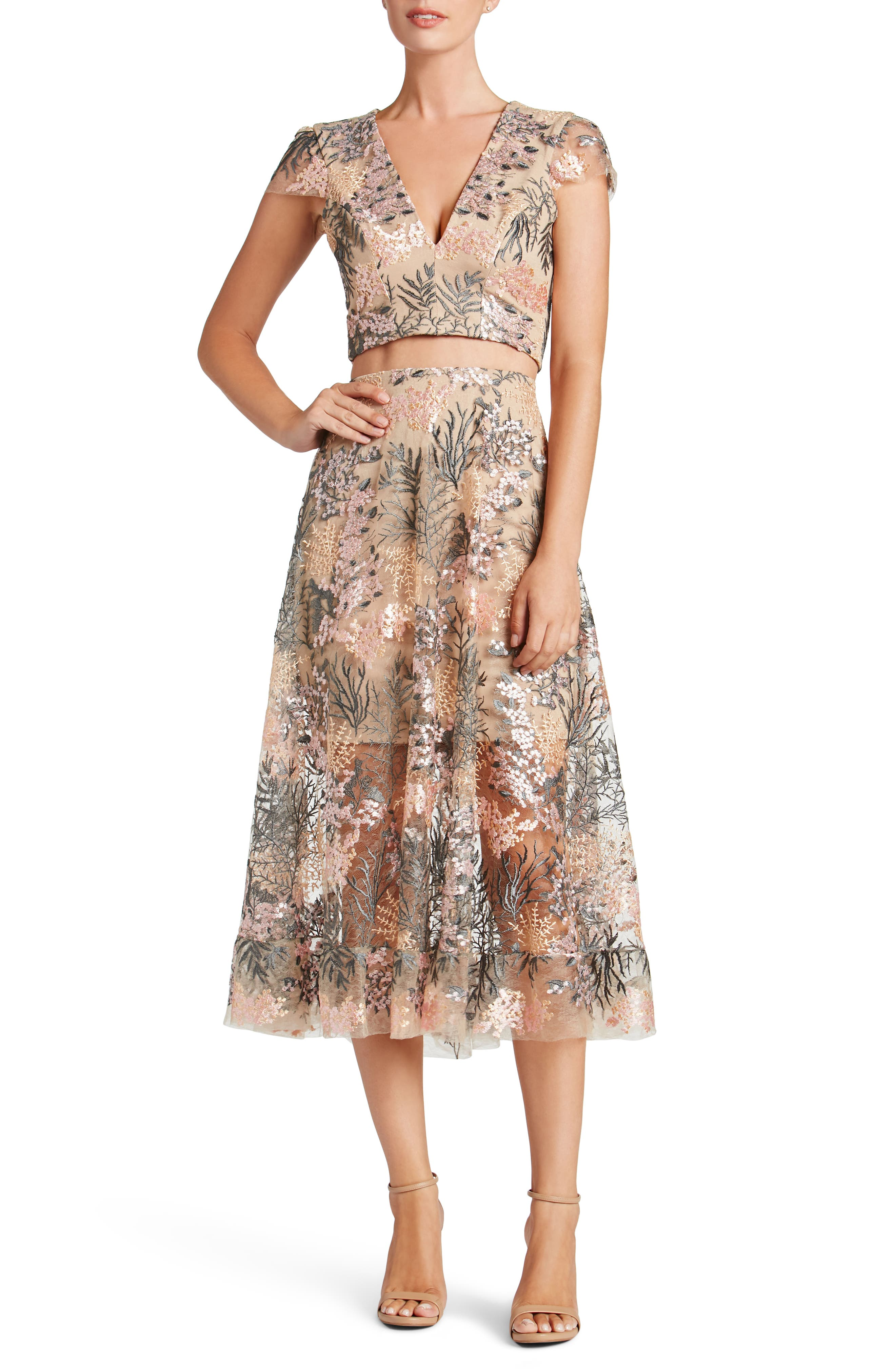Juliana Embroidered Two-Piece Dress,                             Main thumbnail 1, color,                             PINK BLOSSOM