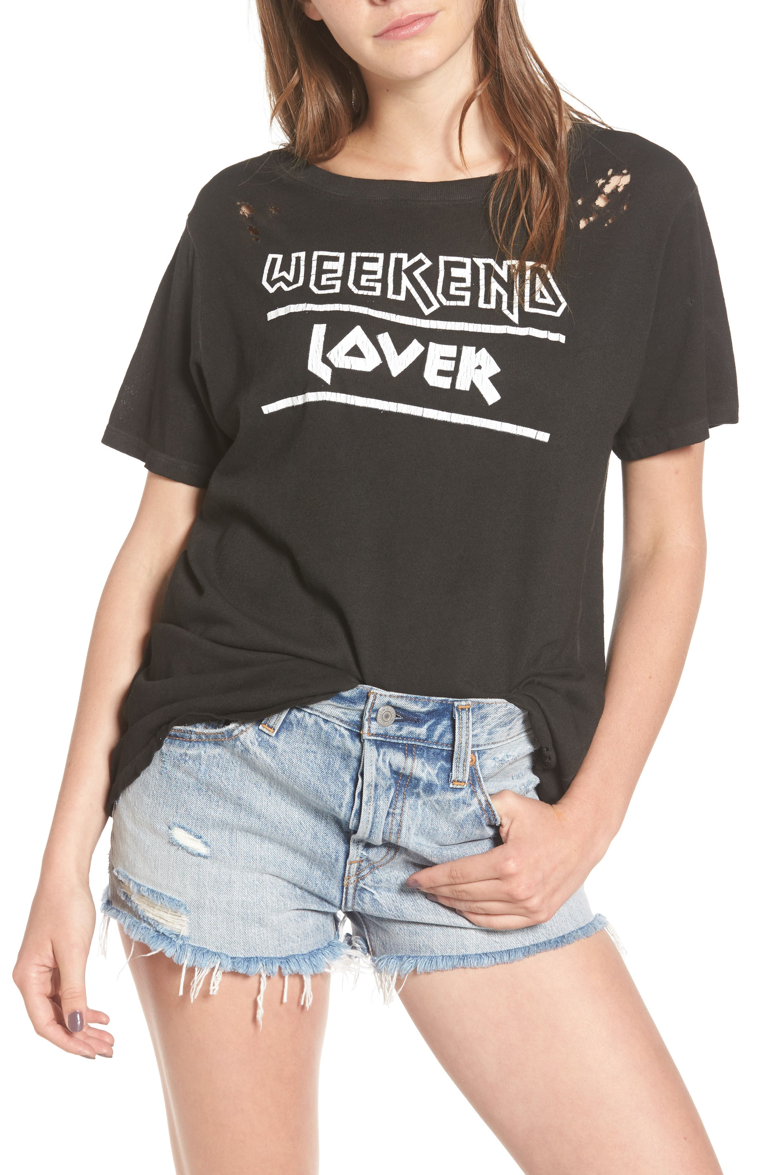 PRINCE PETER Weekend Lover Distressed Tee, Main, color, 001
