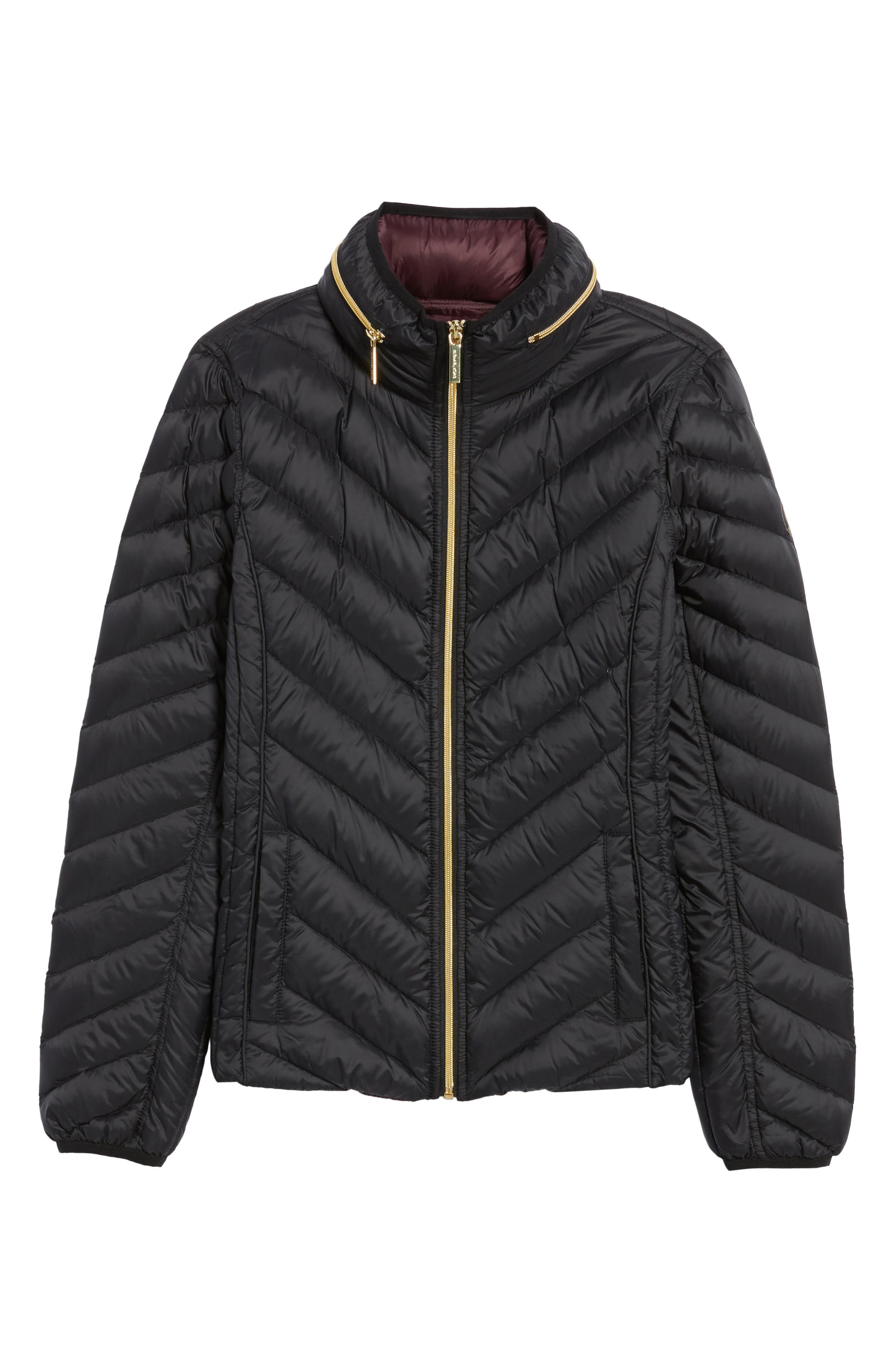 Chevron Quilted Packable Down Puffer Jacket with Stowaway Hood,                             Alternate thumbnail 5, color,                             001
