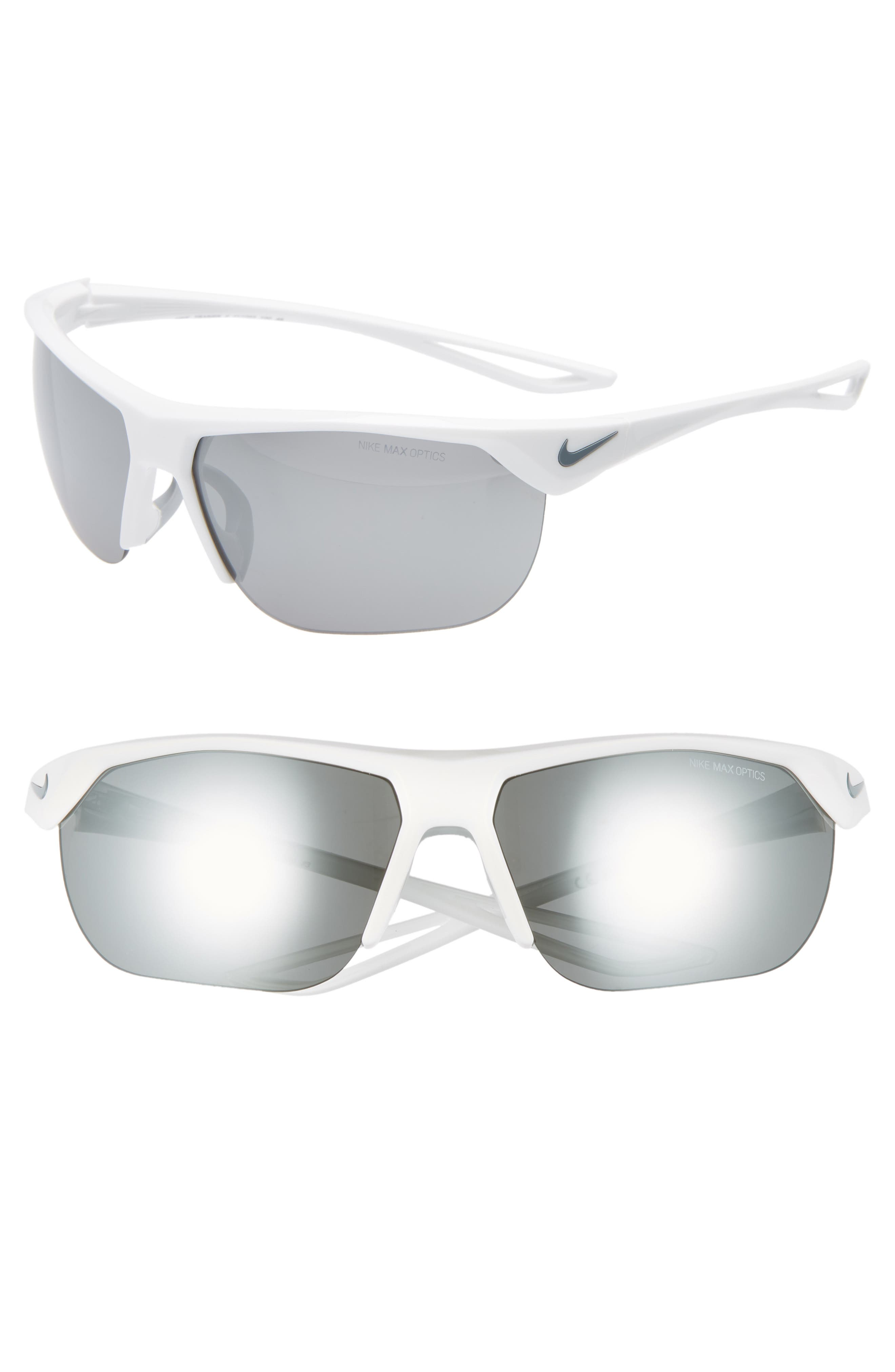 Nike Trainer 6m Mirrored Shield Sunglasses - White/ Grey