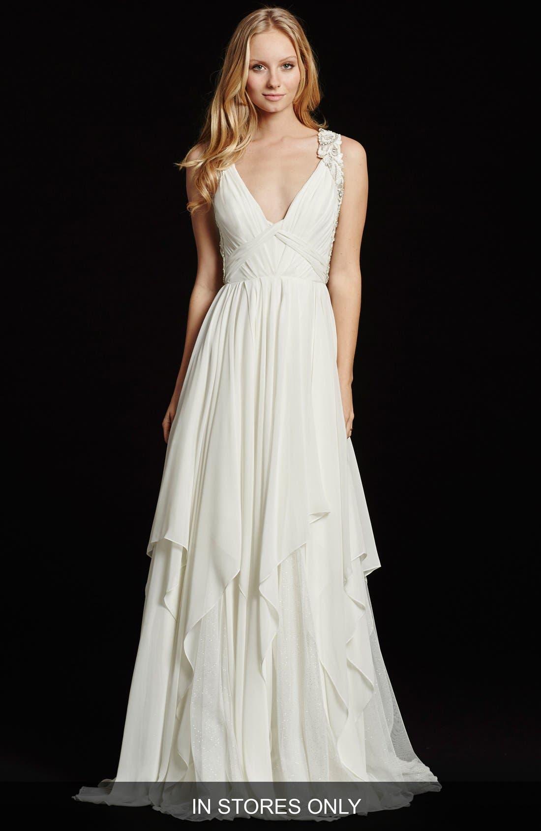 Gwen Sleeveless Grecian Draped Bodice Chiffon Gown,                             Main thumbnail 1, color,                             IVORY