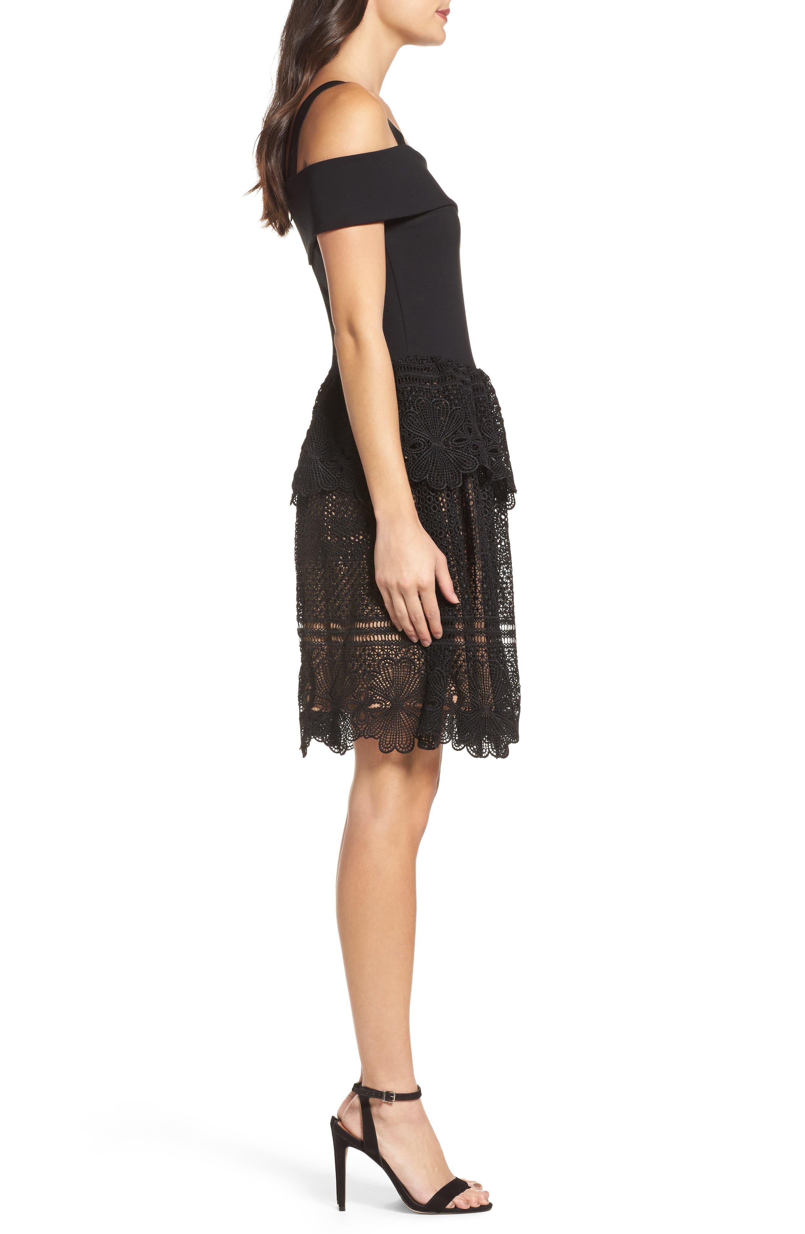 Amelia Lace A-Line Dress,                             Alternate thumbnail 3, color,                             001