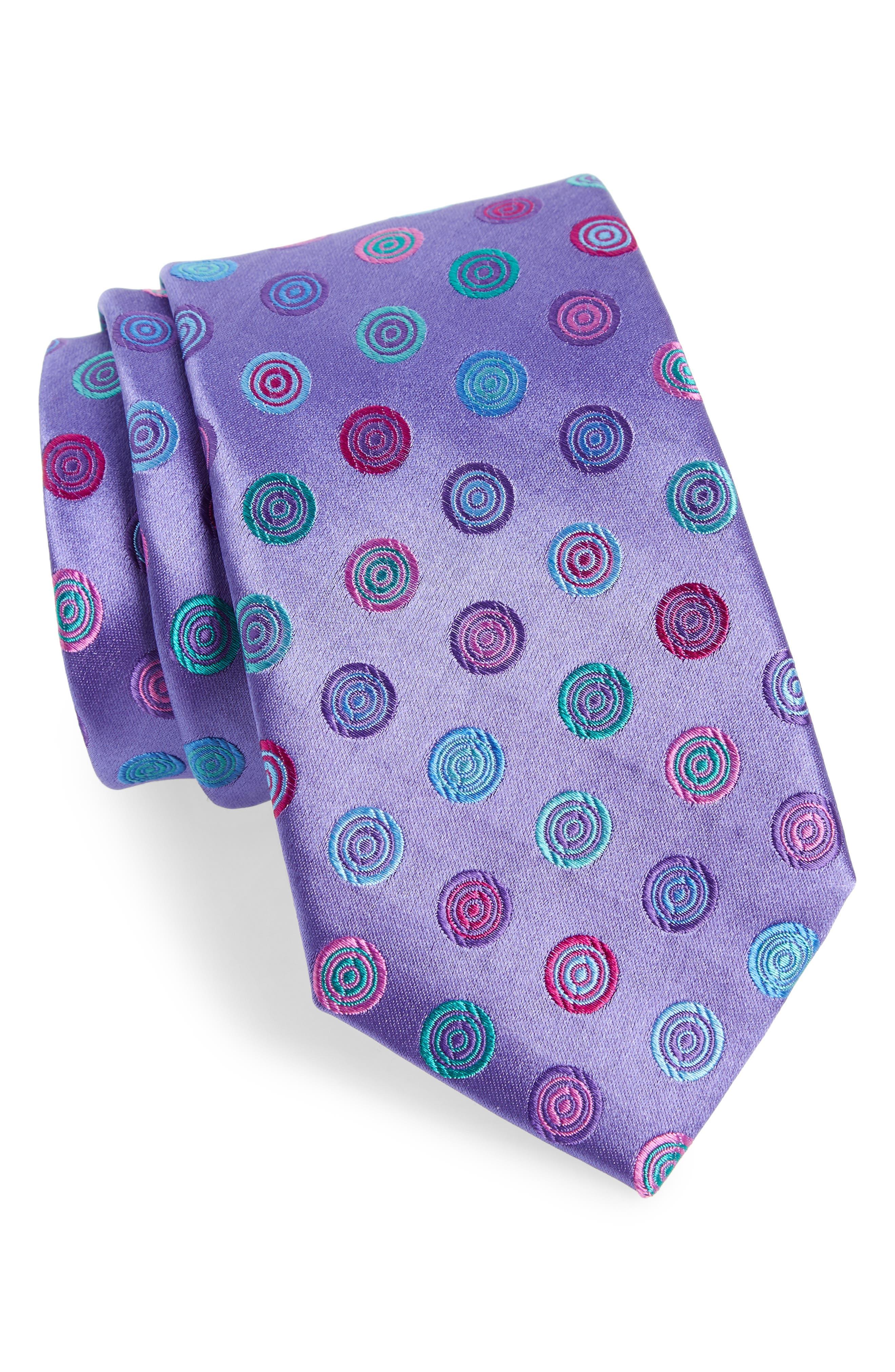 Santa Lucia Medallion Silk Tie,                         Main,                         color, LILAC