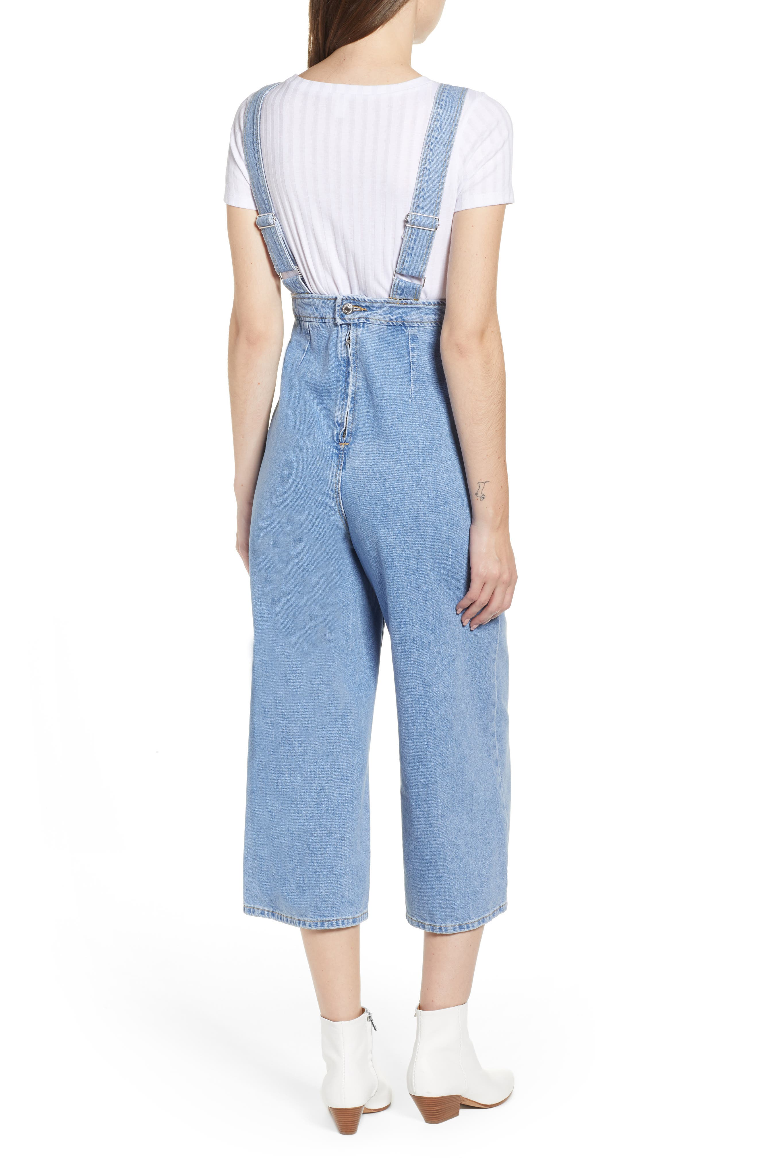 Wide Leg Crop Overalls,                             Alternate thumbnail 2, color,                             MID STONE