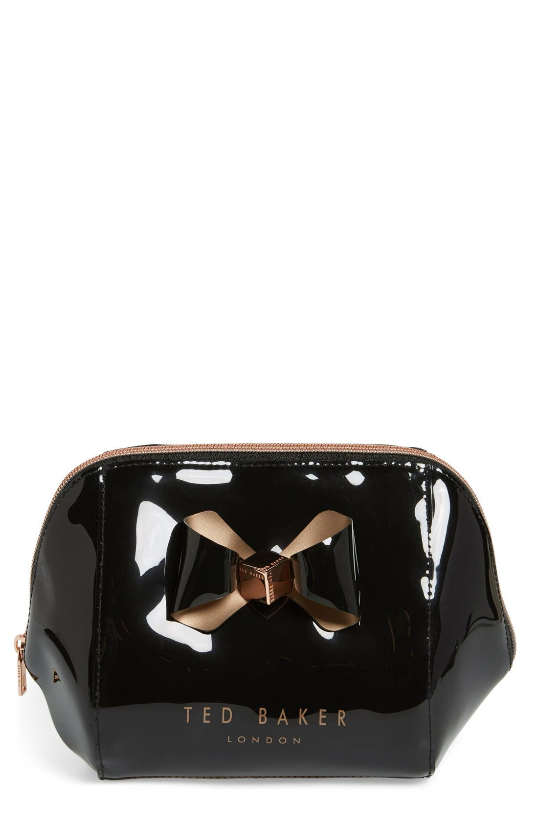 'Rochel - Extra Large Bow' Cosmetics Case,                             Main thumbnail 1, color,                             001