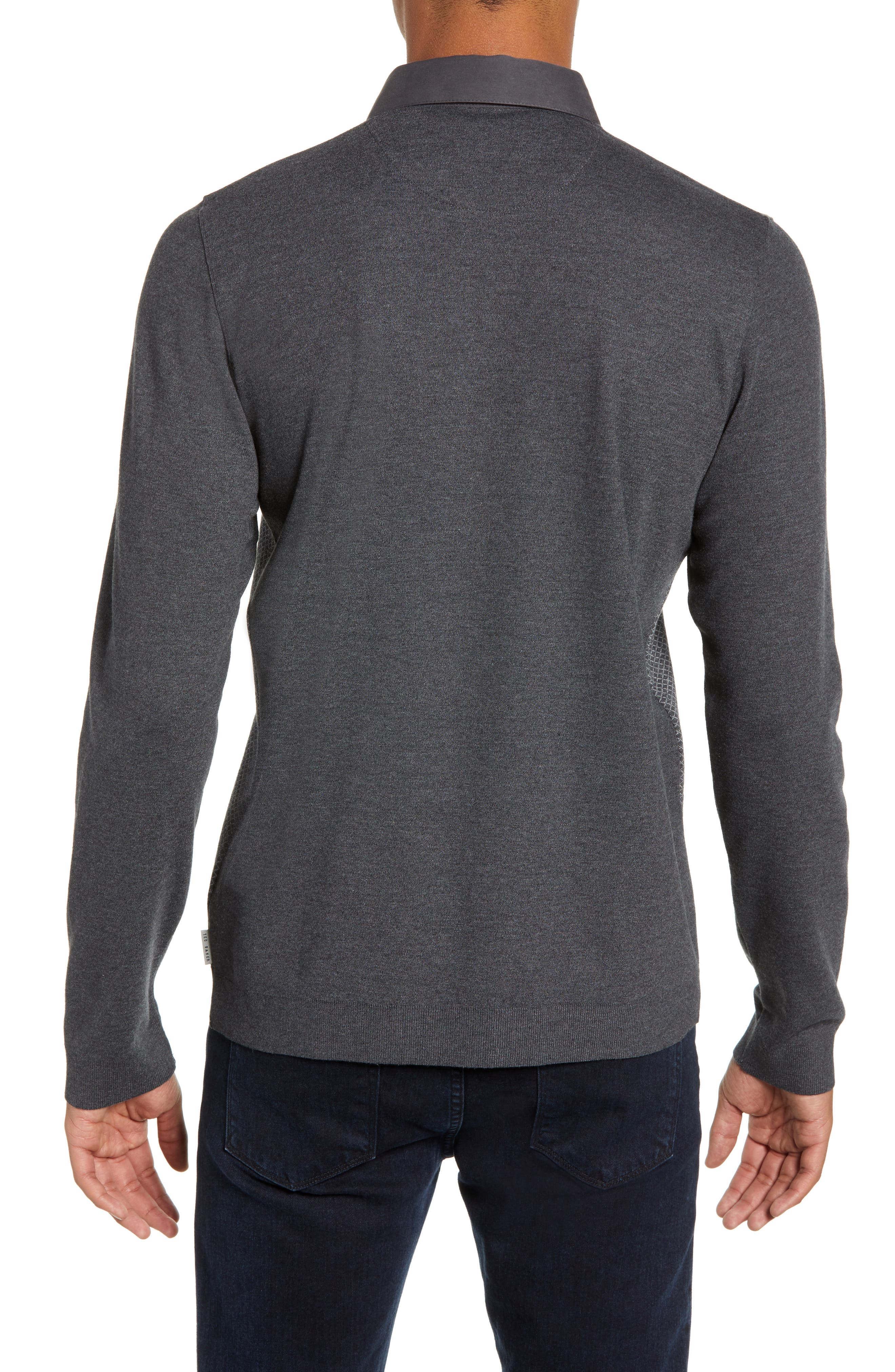 Friend Slim Fit Long Sleeve Polo,                             Alternate thumbnail 2, color,                             CHARCOAL