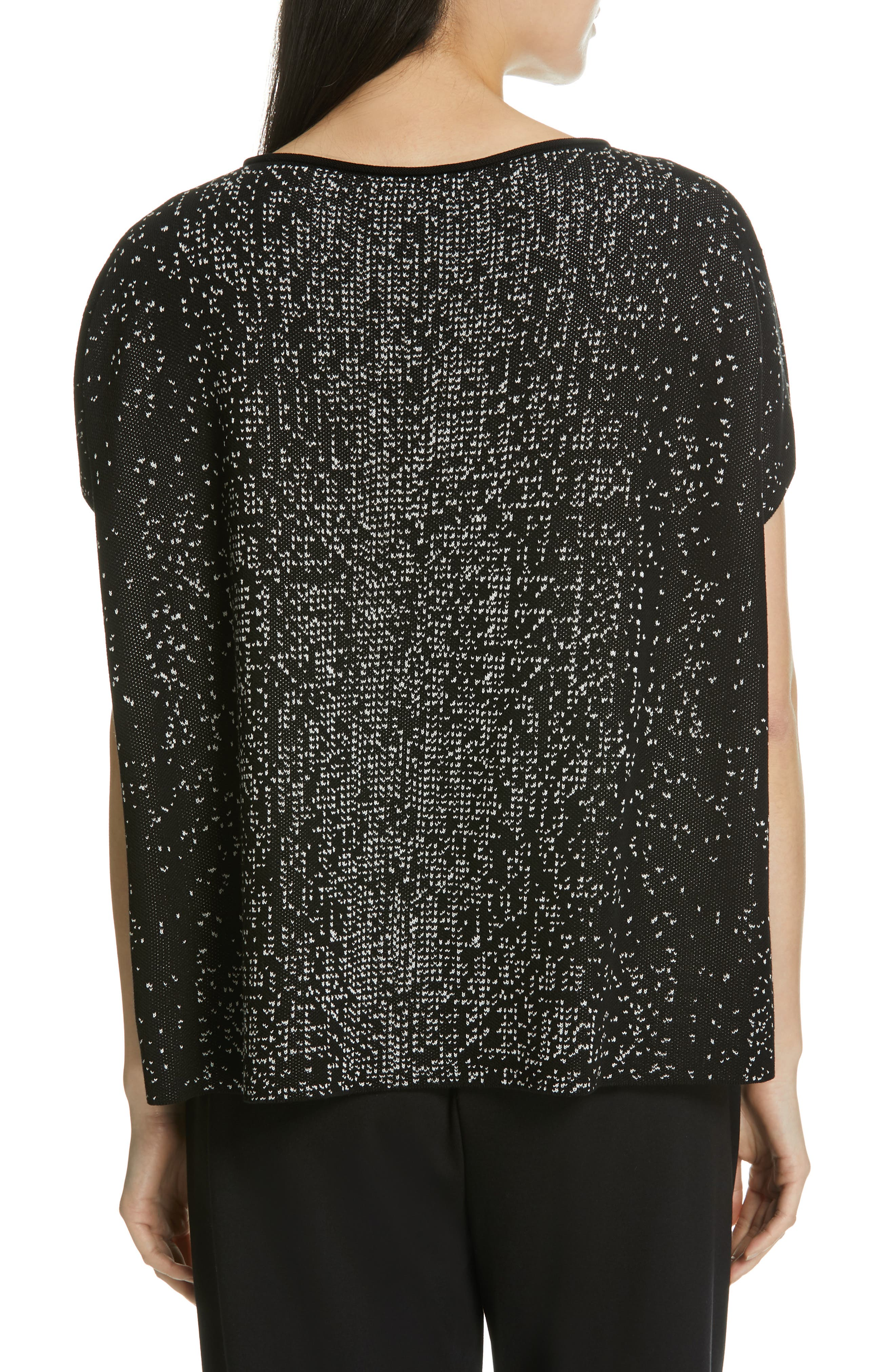 EILEEN FISHER,                             Bateau Neck Top,                             Alternate thumbnail 2, color,                             BLACK/ SOFT WHITE