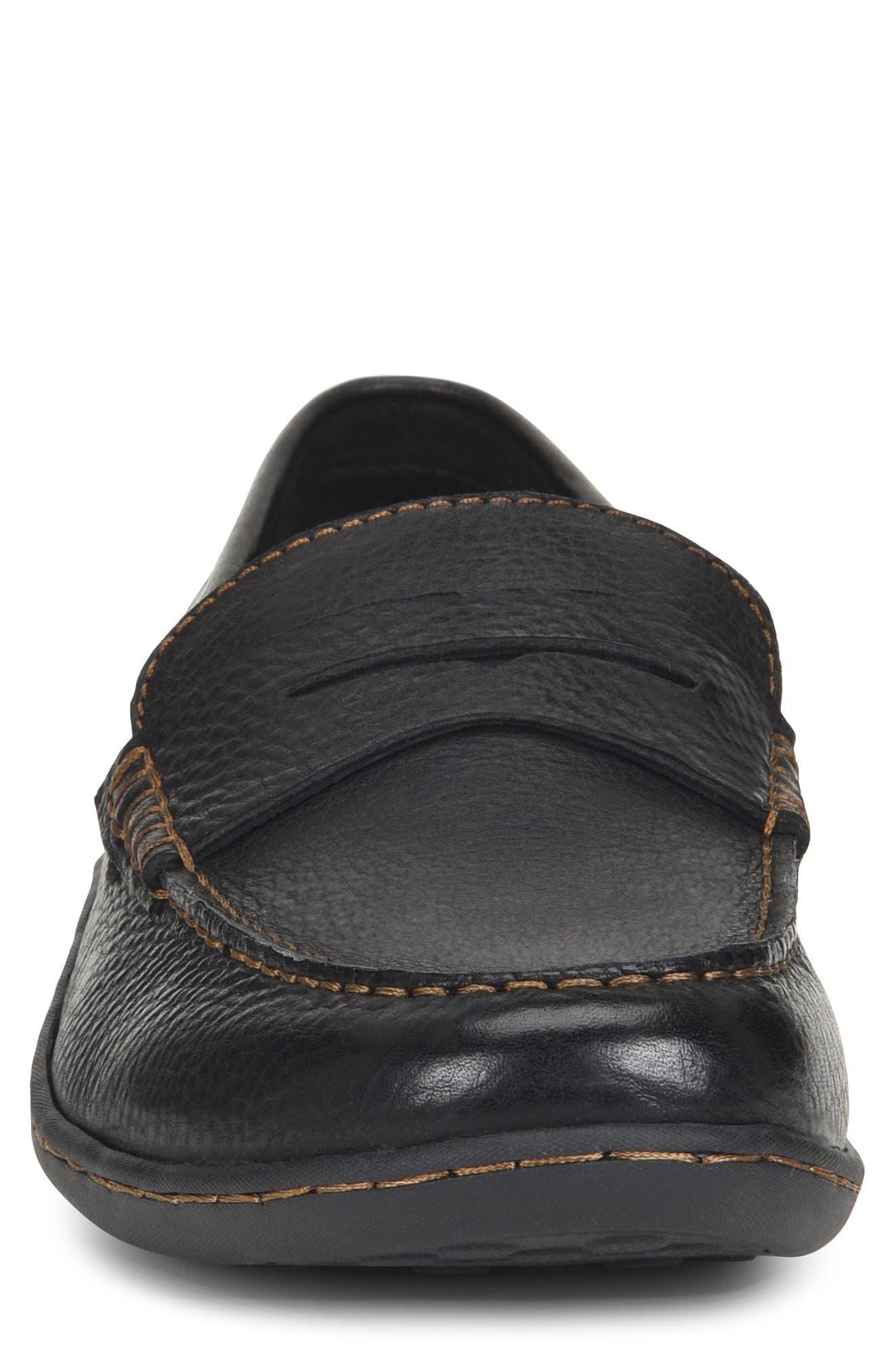 Simon II Driving Shoe,                             Alternate thumbnail 4, color,                             BLACK LEATHER