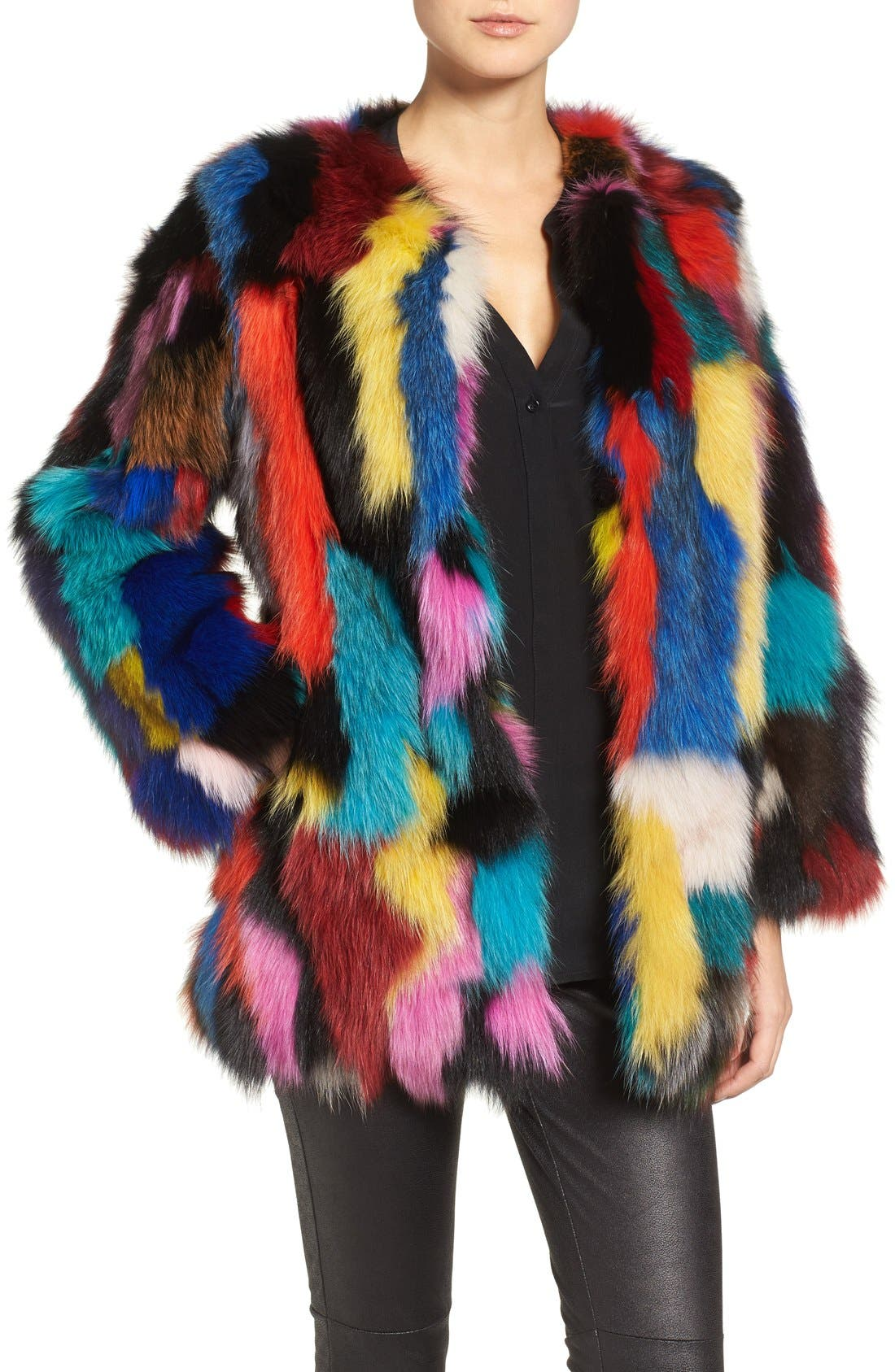 Marmalade Patchwork Genuine Fox Fur Coat,                             Main thumbnail 1, color,                             400